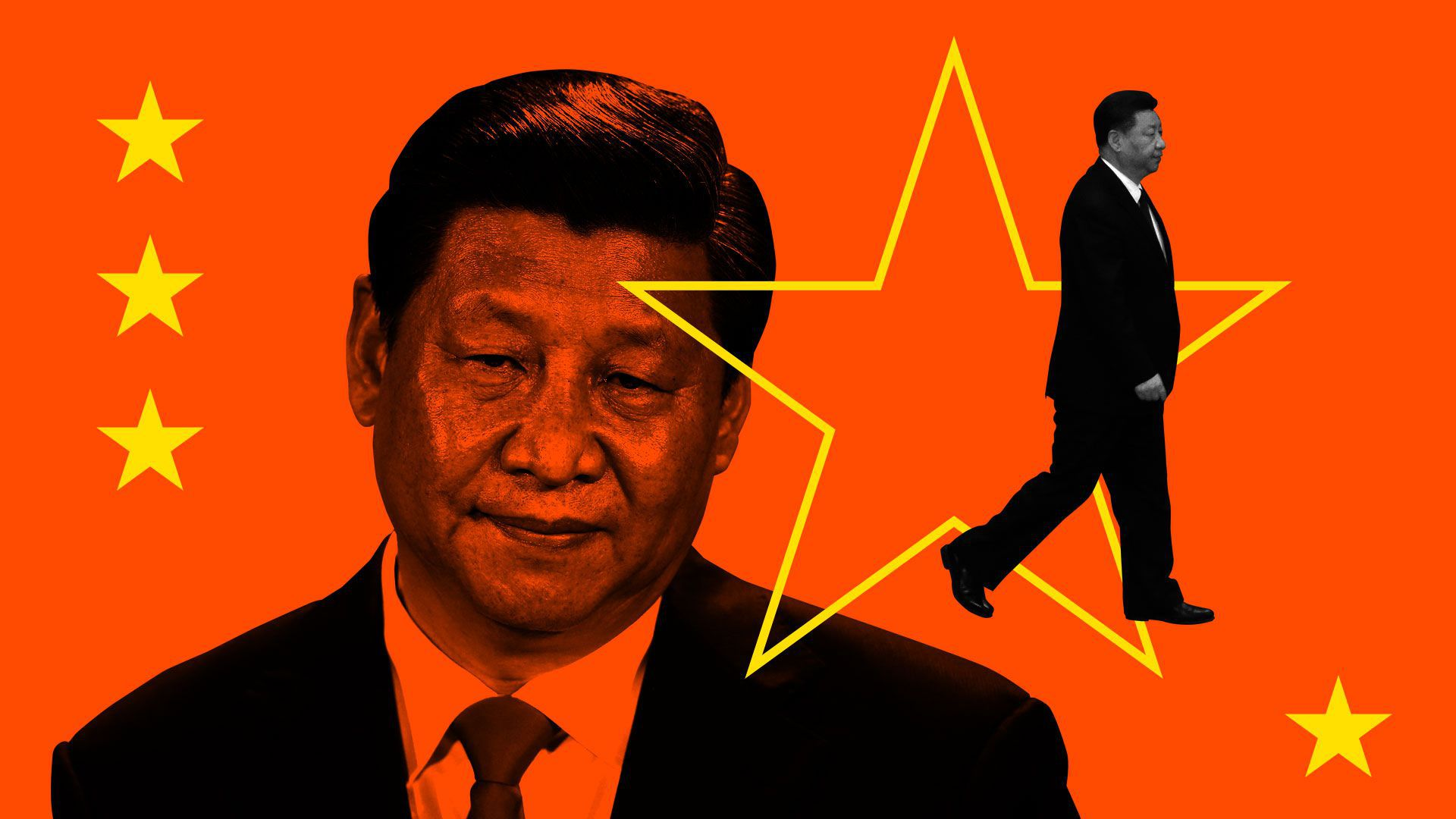 Illustration of Chinese President Xi Jinping with a close headshot and also a photo of him walking away superimposed on China flag