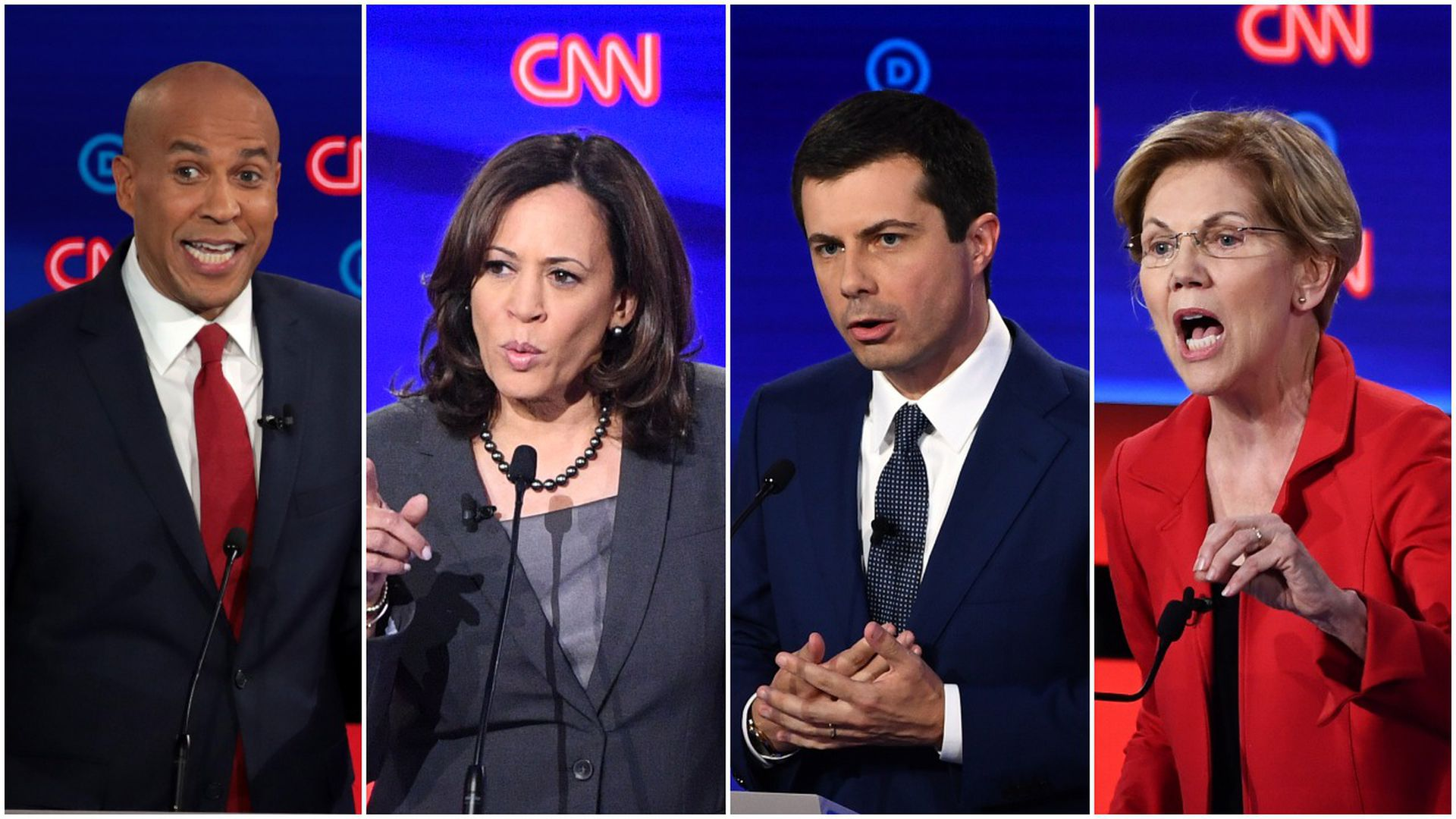 This image is a four-way splitscreen of Booker, Warren, Harris, and Buttigieg.
