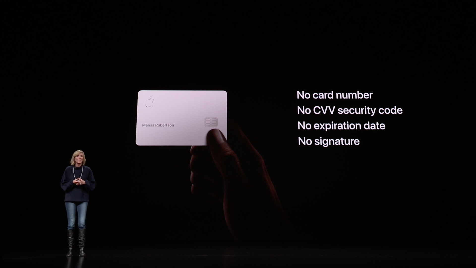 Apple's new credit card on screen at Apple launch event, with Apple VP Jennifer Bailey