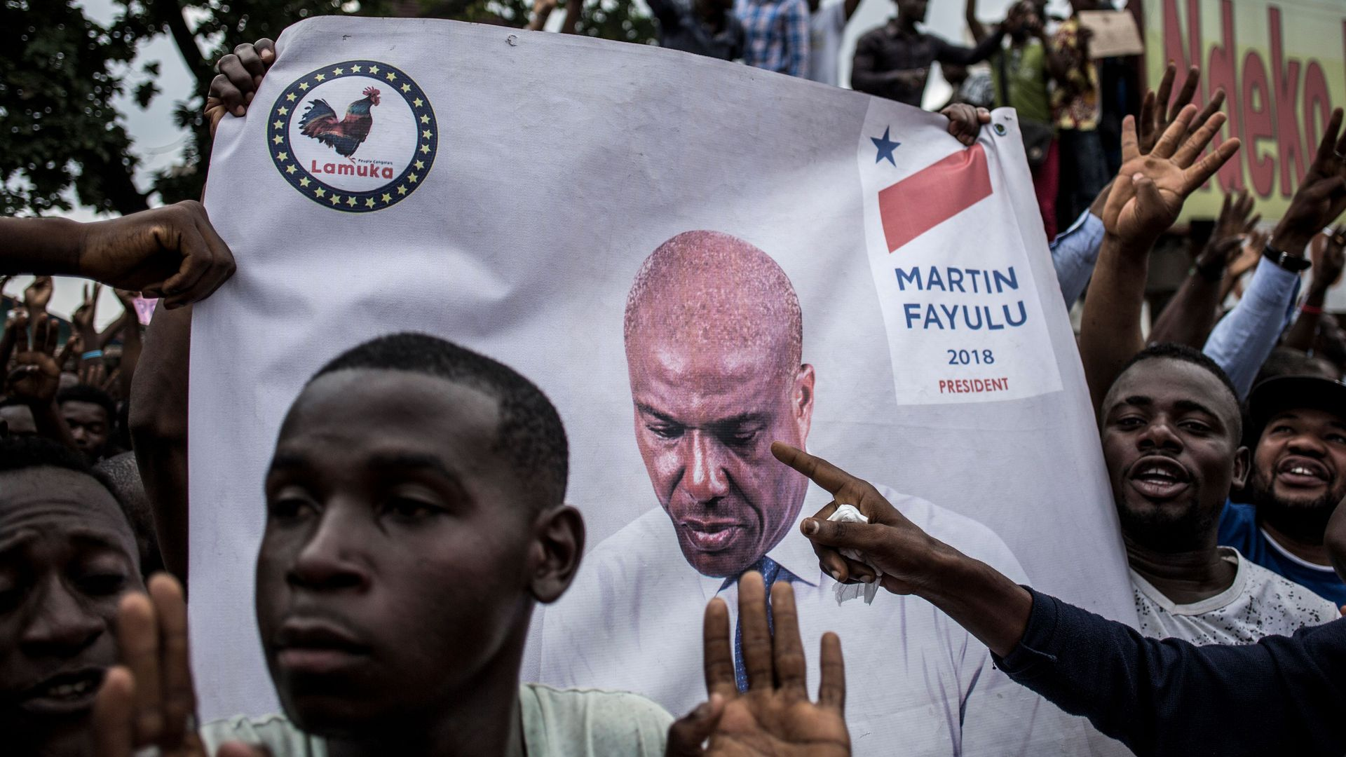 Supporters of Democratic Republic of Congo opposition leader and former presidential candidate Martin Fayulu in January.
