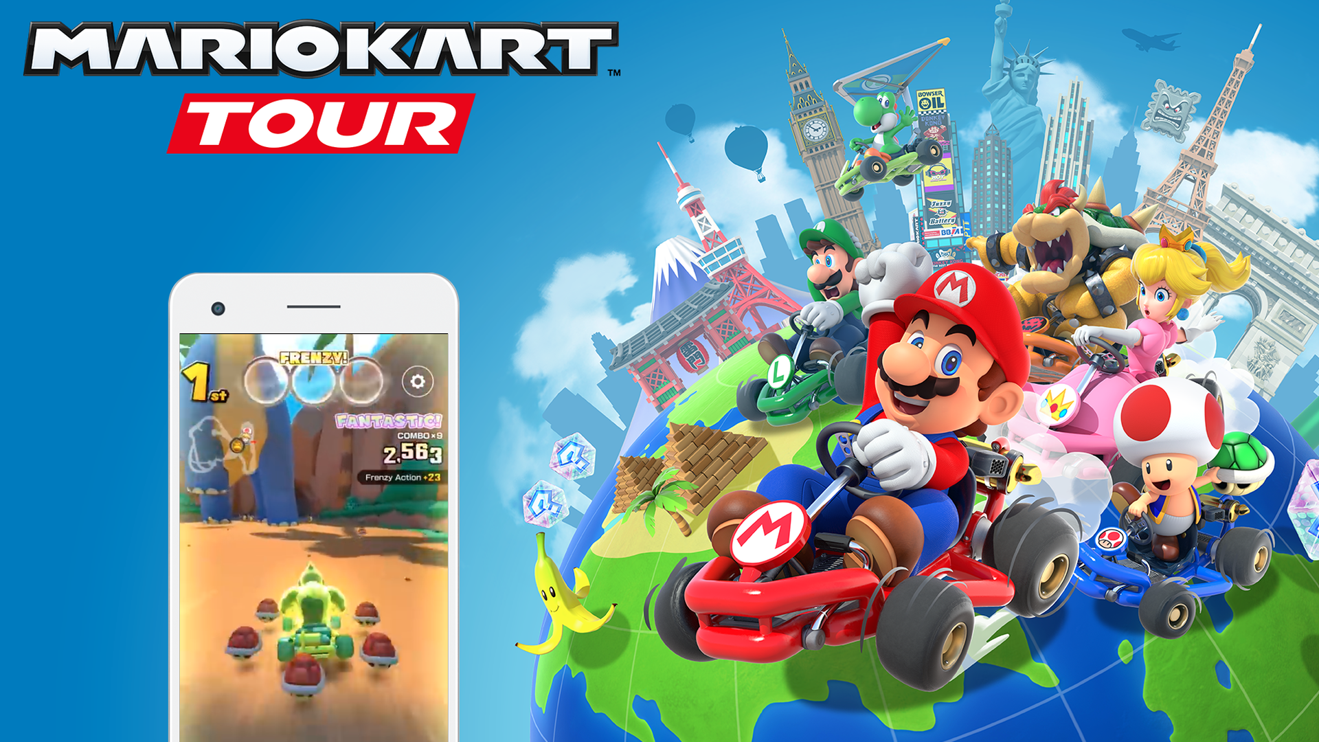 A poster with an iphone playing the Mario Kart game and Mario on the side of the phone.