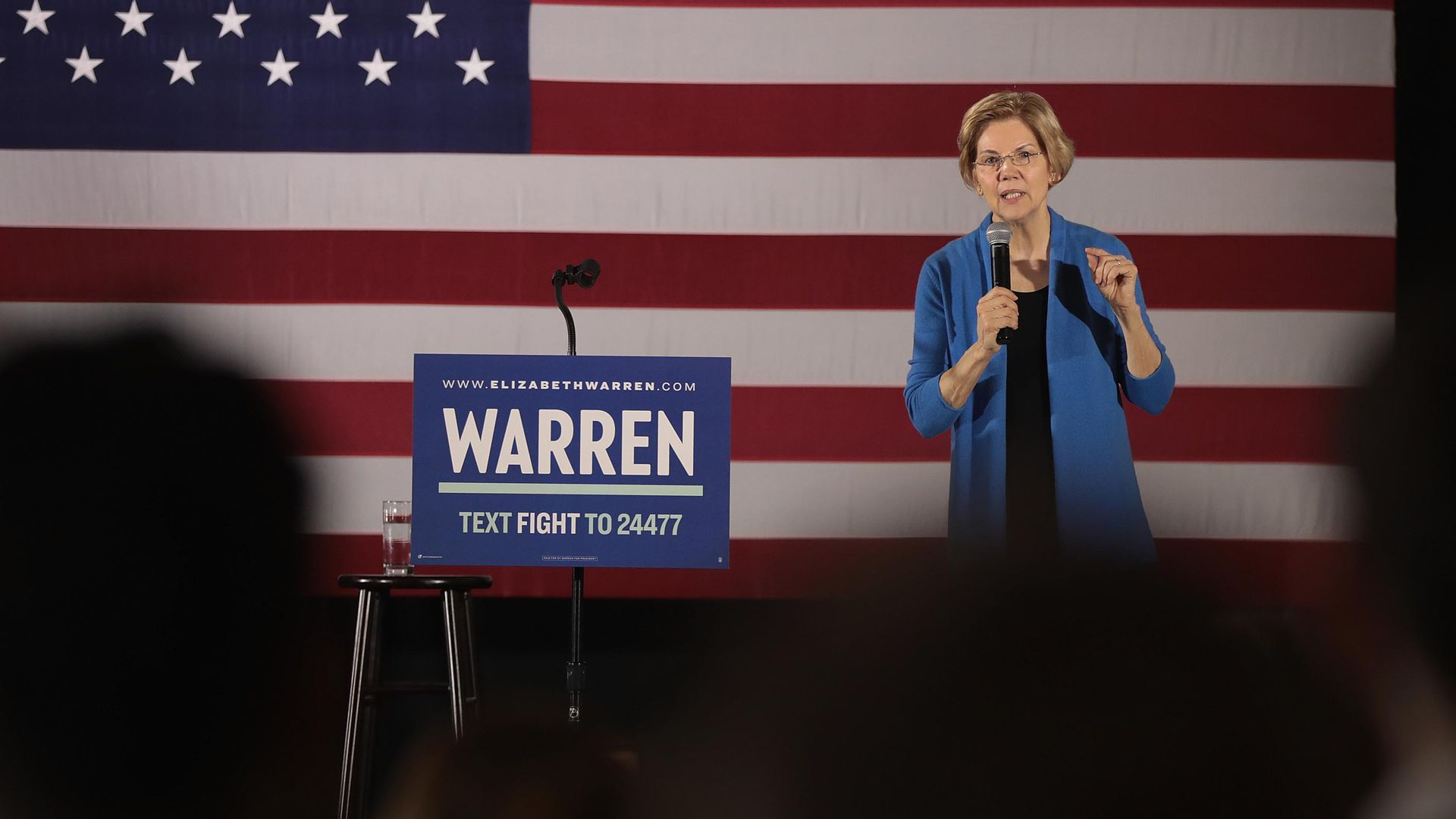 Sen. Elizabeth Warren (D-Mass.) at a campaign rally at the University of Iowa last month.