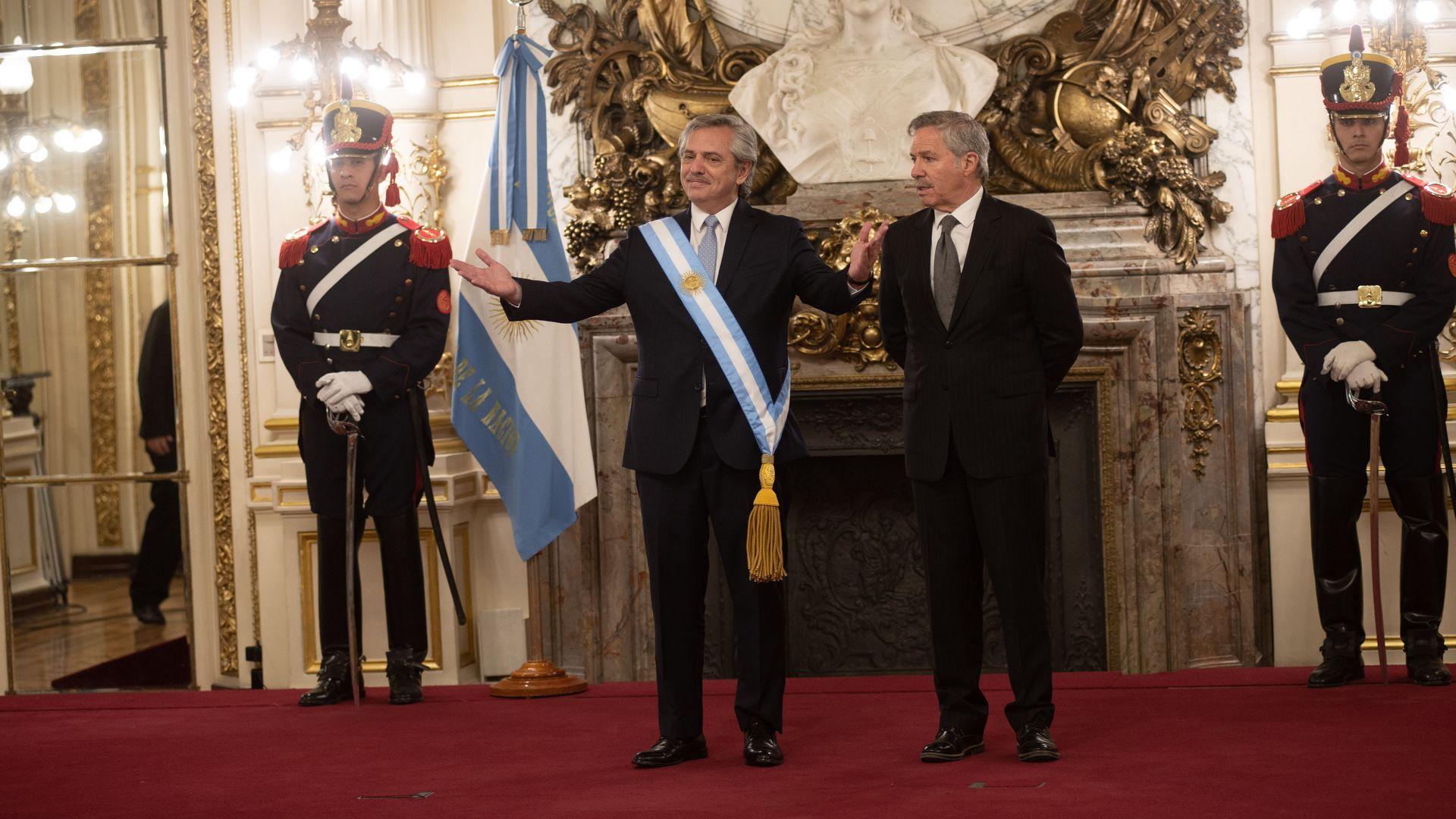 Alberto Fernandez standing inside Argentina's National Congress