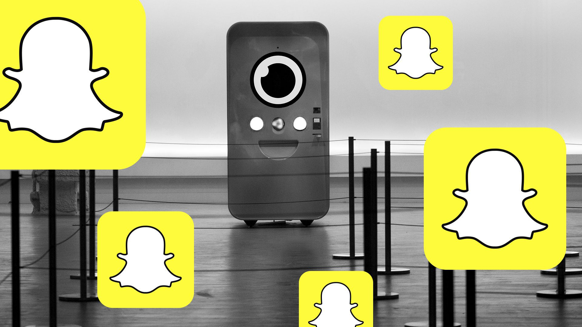 Illustration of Snapchat icons over a smiley phone