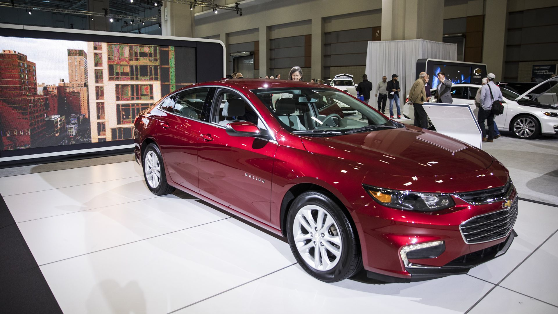 A 2017 Chevy Malibu at the 2017 Washington Auto Show in Washington, USA on February 3, 2017. (Photo by Samuel Corum/Anadolu Agency/Getty Images)