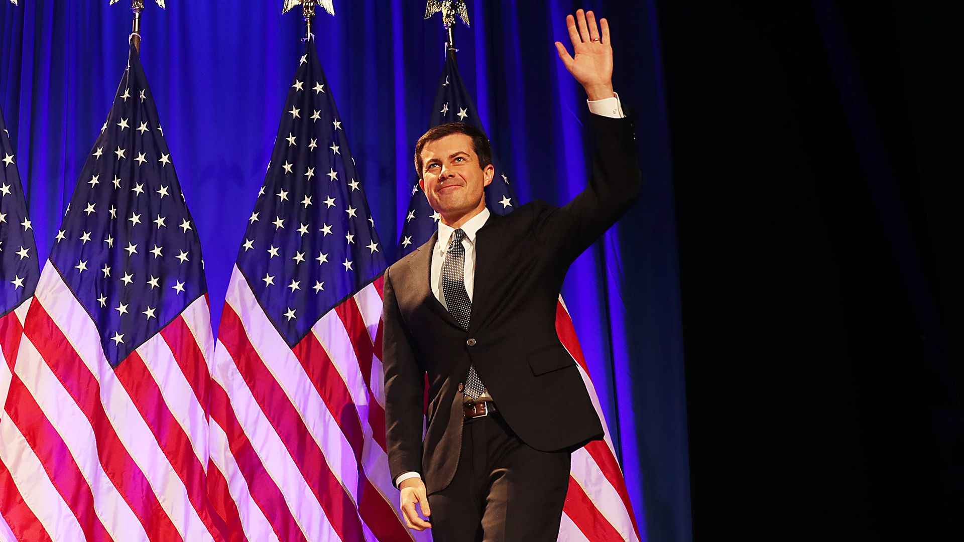 Democratic presidential candidate Pete Buttigieg arrives on stage at a Veterans Day address at the Rochester Opera House on November 11, 2019 in Rochester, New Hampshire.