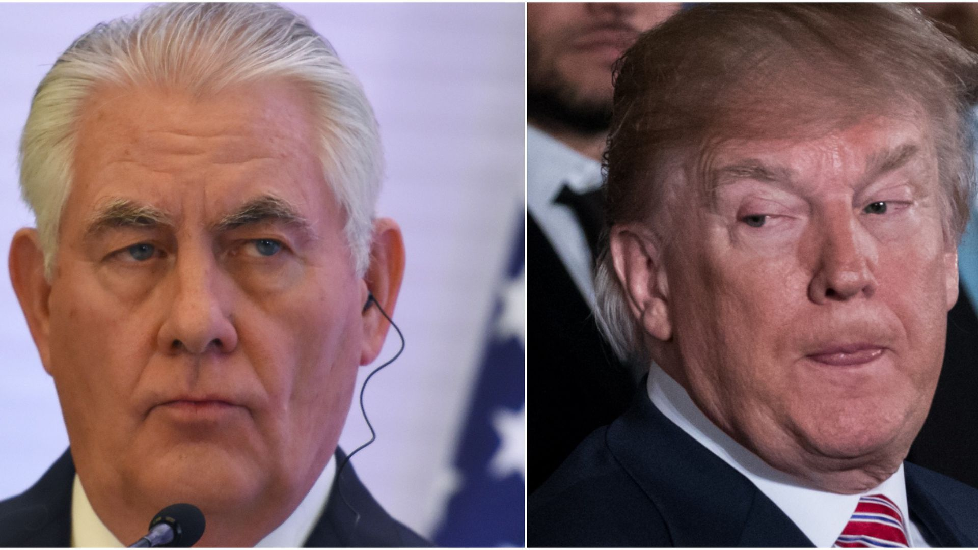 Rex Tillerson looking out of the corner of his eye and Donald Trump looking out of the corner of his eye