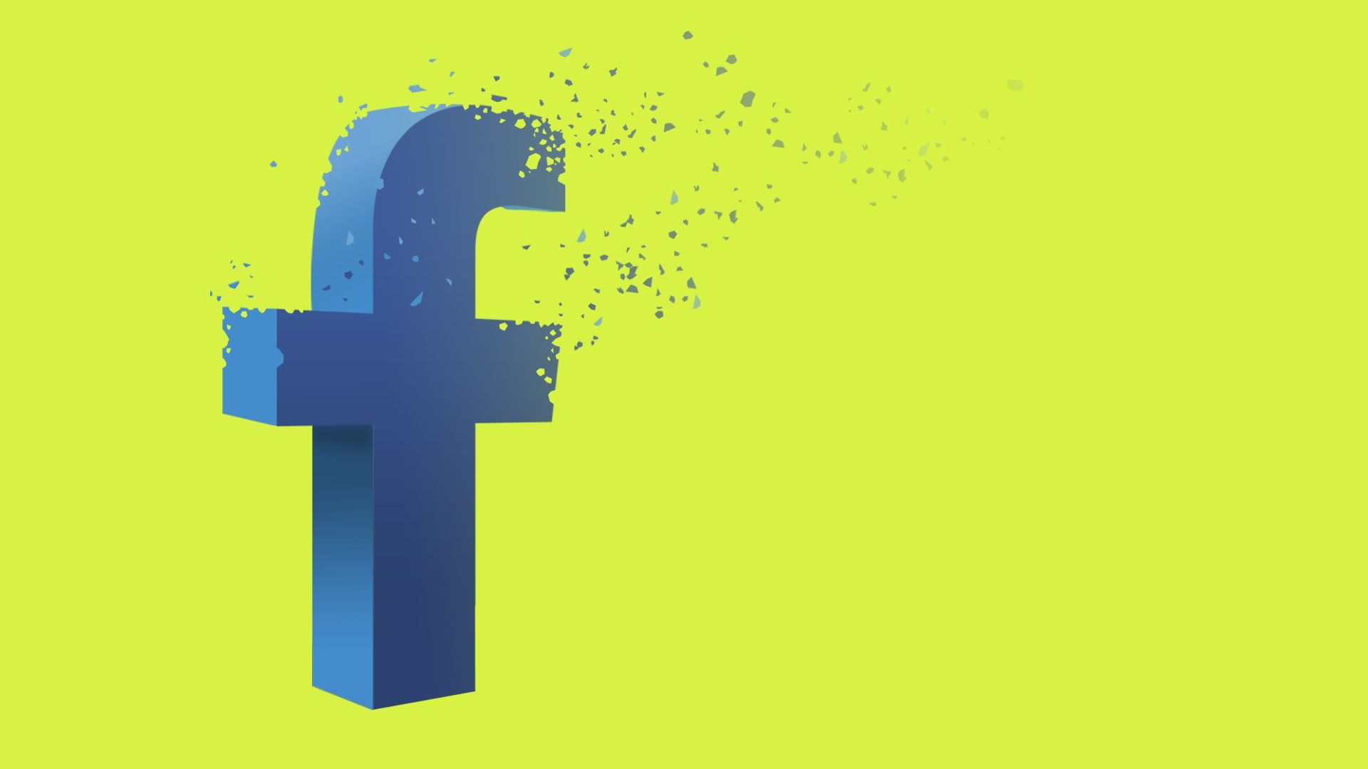 Illustration of Facebook logo dissolving