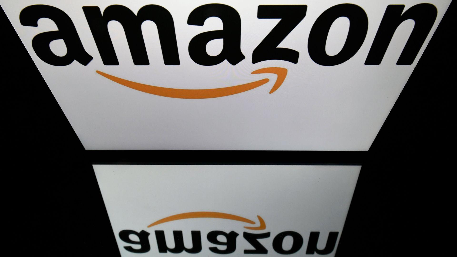 Amazon logo reflected