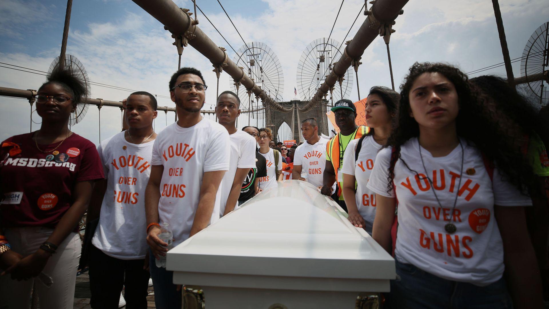 National Gun Violence Awareness Day march on Brooklyn Bridge in New York