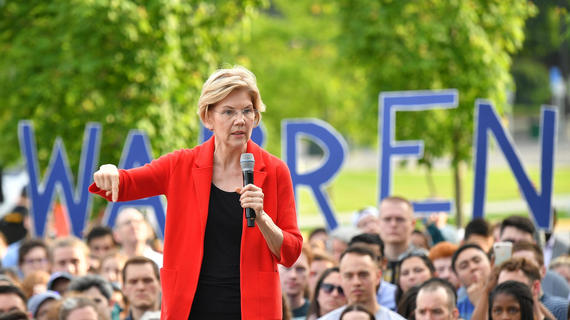 Warren at a campaign rally.