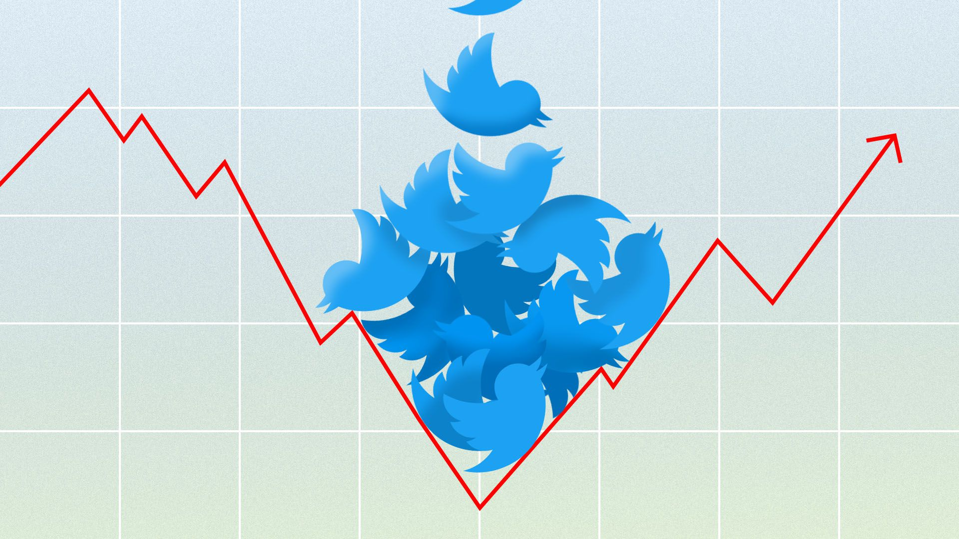 Illustration of line chart being weighed down by a pile of Twitter birds