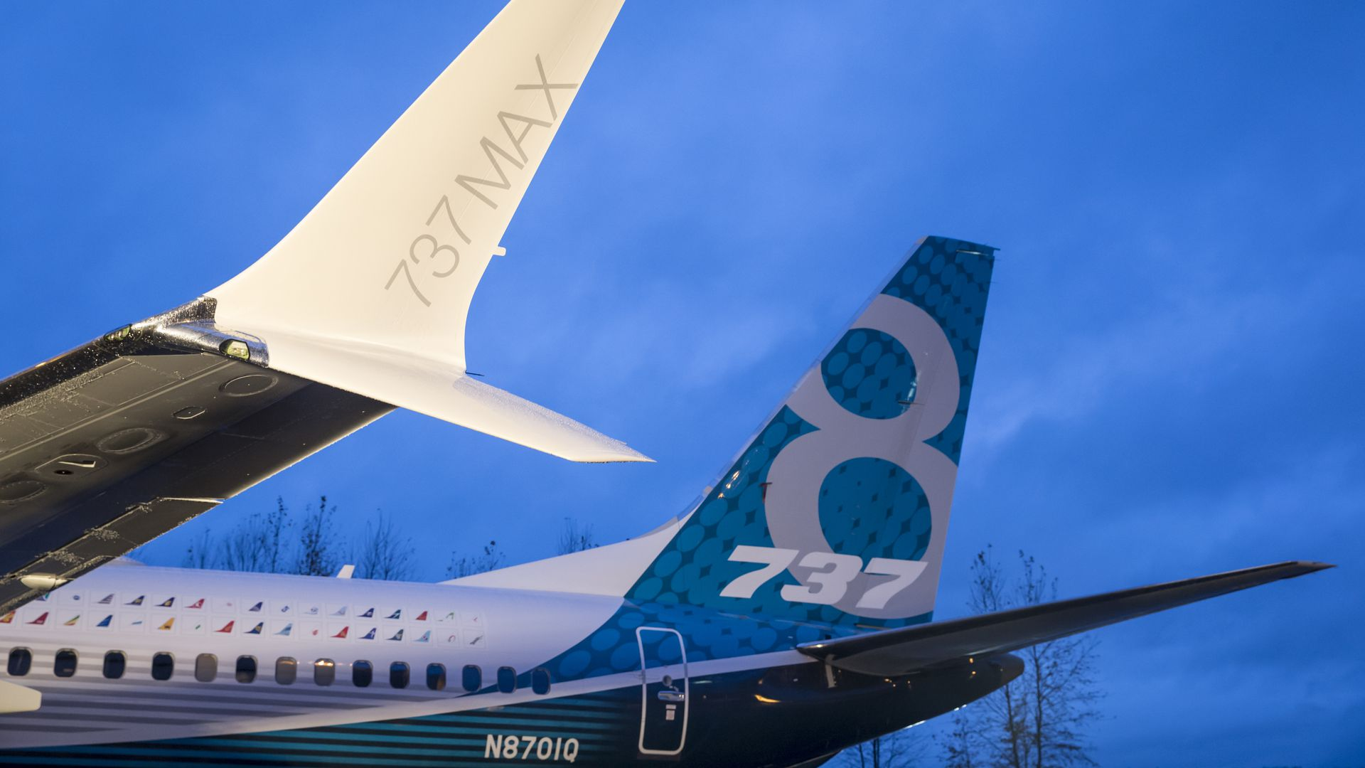 A winglet on the first Boeing 737 MAX airliner