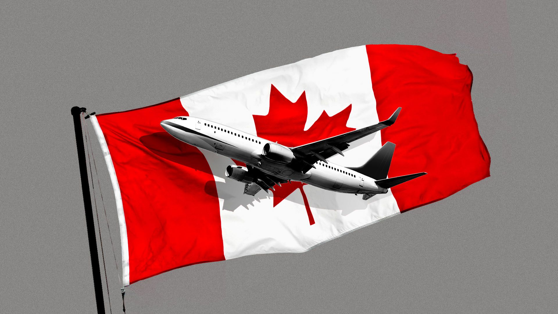 Illustration of an airplane in front of the Canadian flag