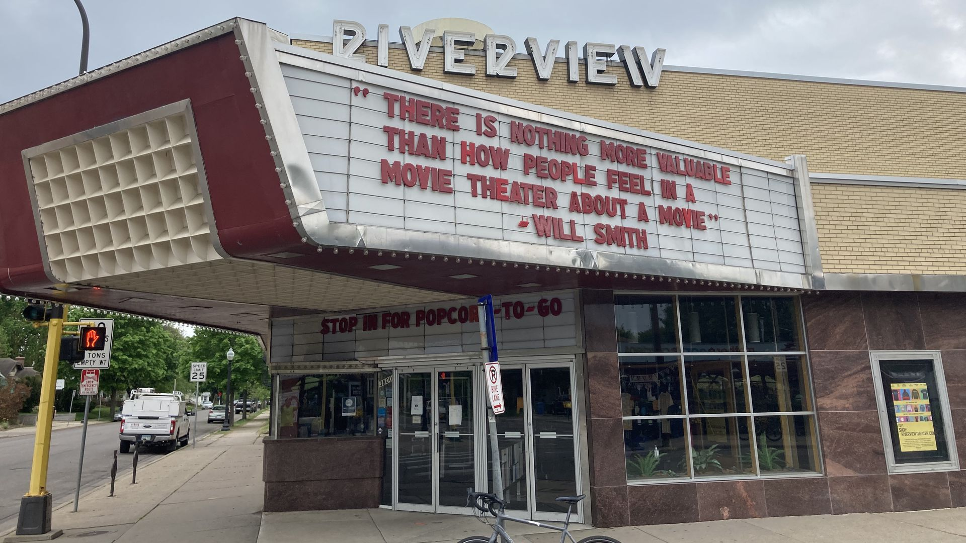 The exterior of Riverview Theater in south Minneapolis.