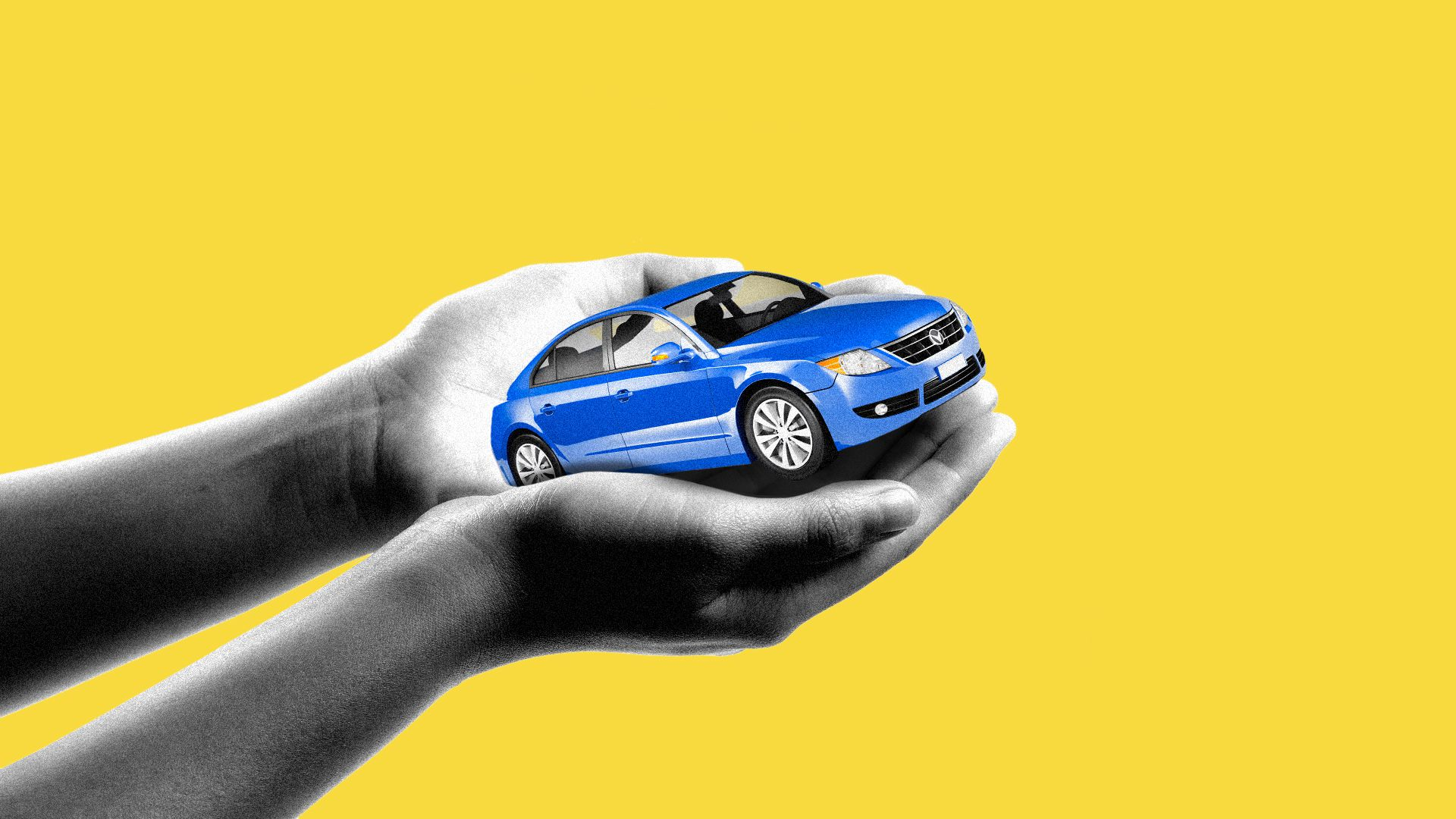 Illustration of cupped hands holding out a car.