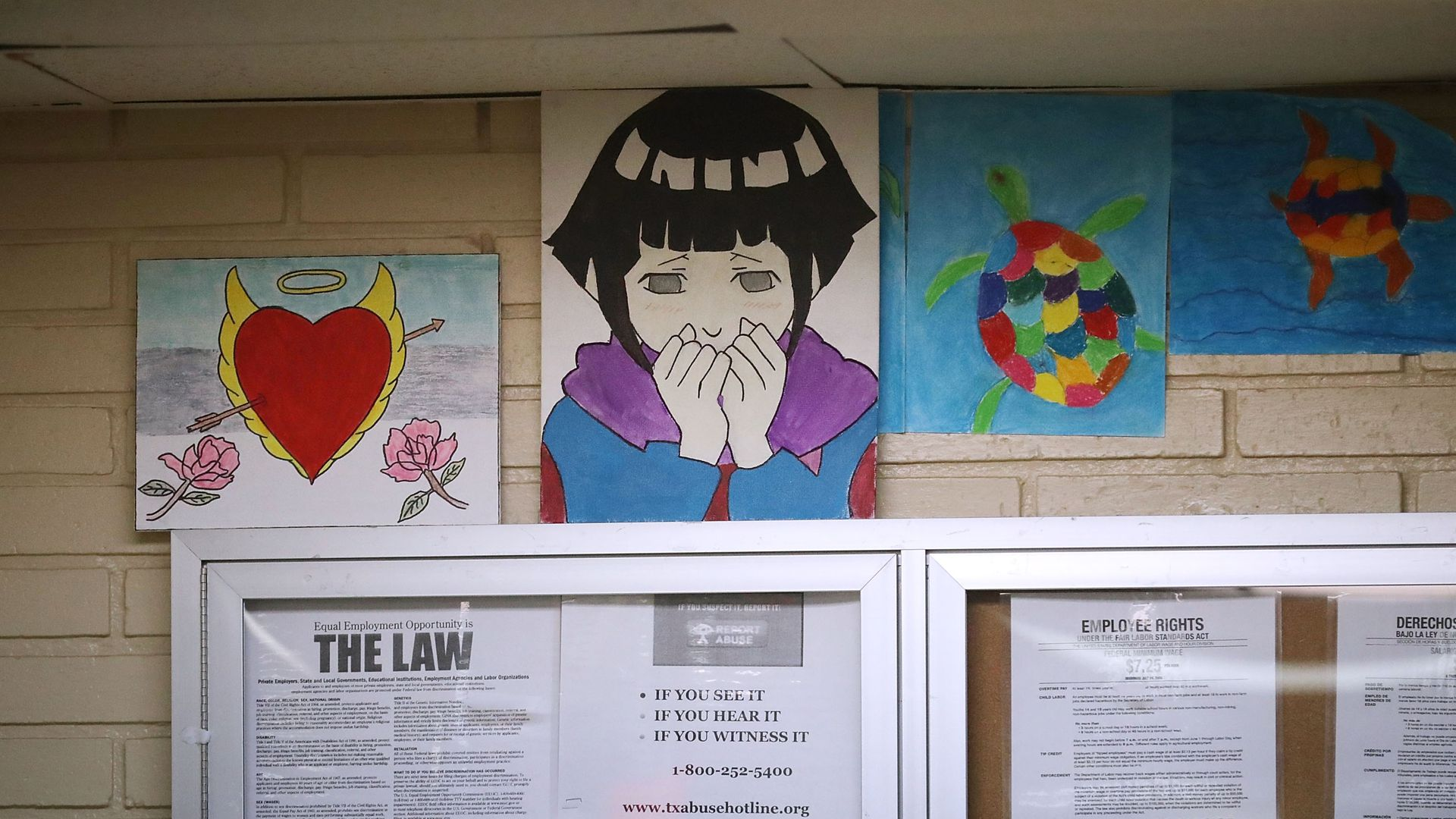 Posters and child paintings in an HHS child shelter