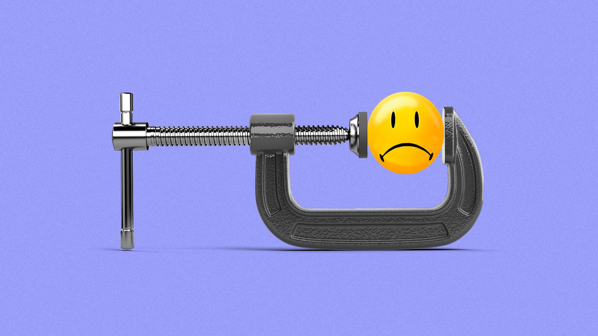 Illustration of a vise grip squeezing a frowning rollback smiley face