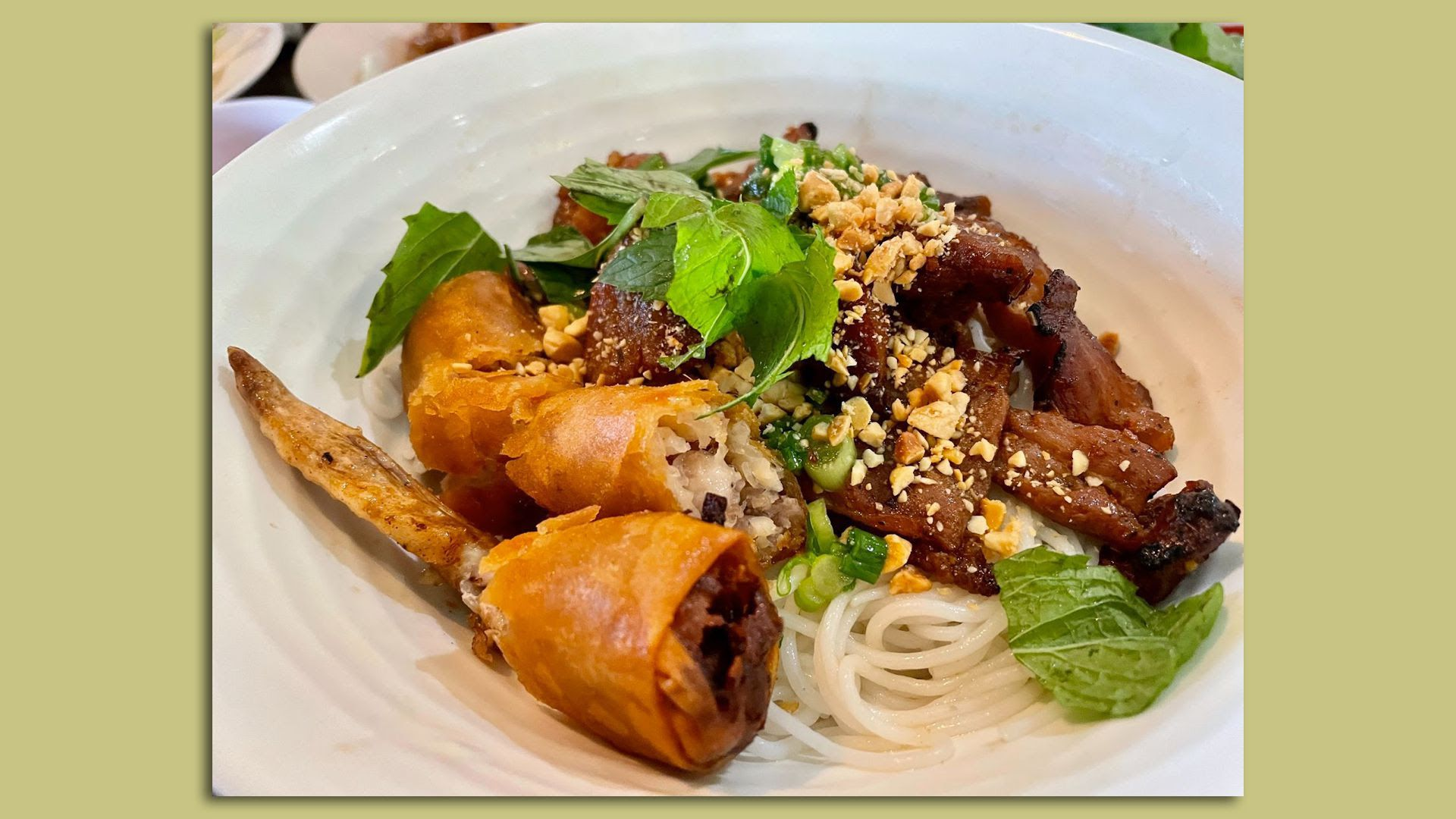 A plate of Thit nuong (pork) vermicelli at Pho All Seasons in Des Moines.