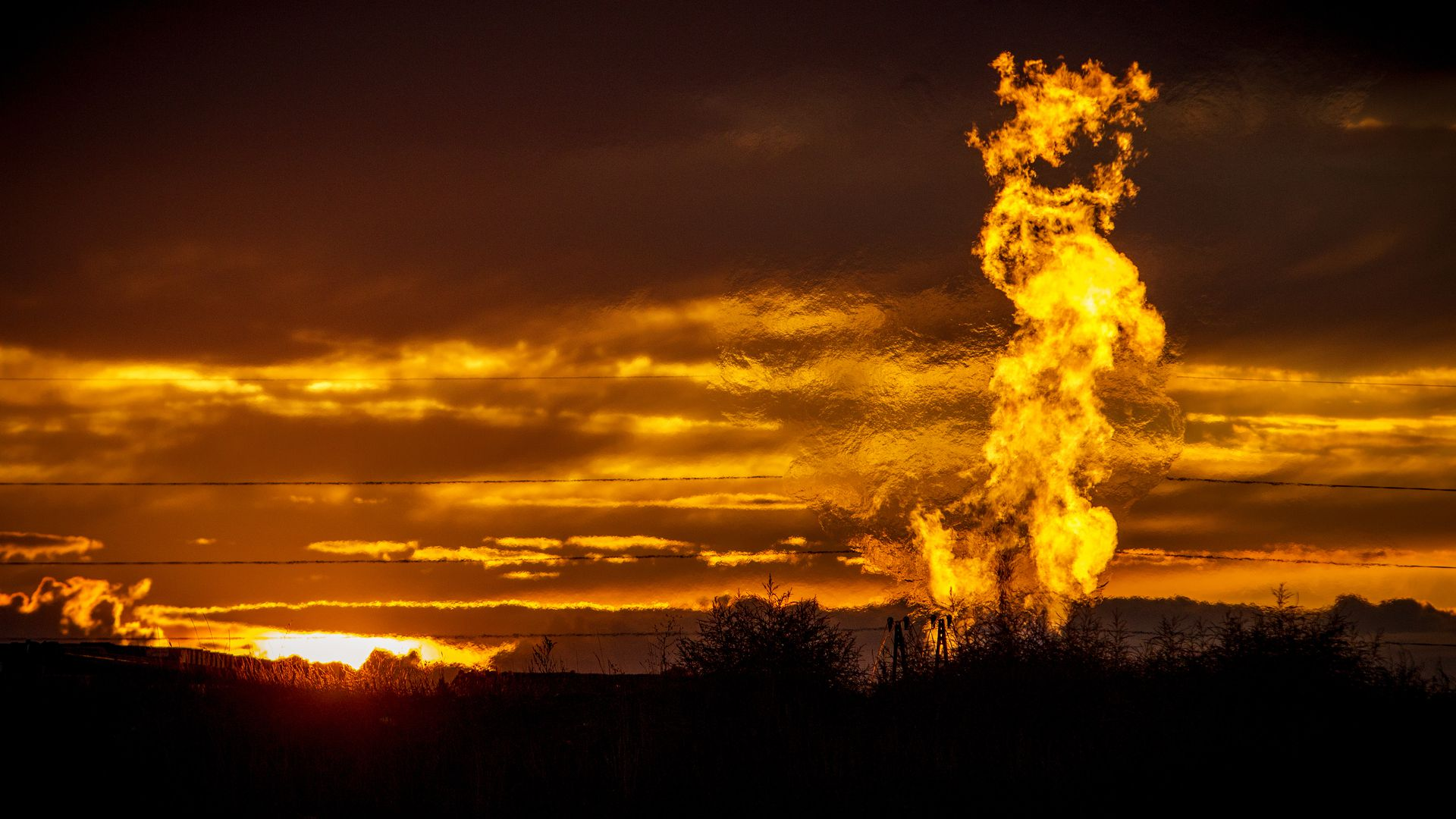 Flames for a flaring pit in an oil field