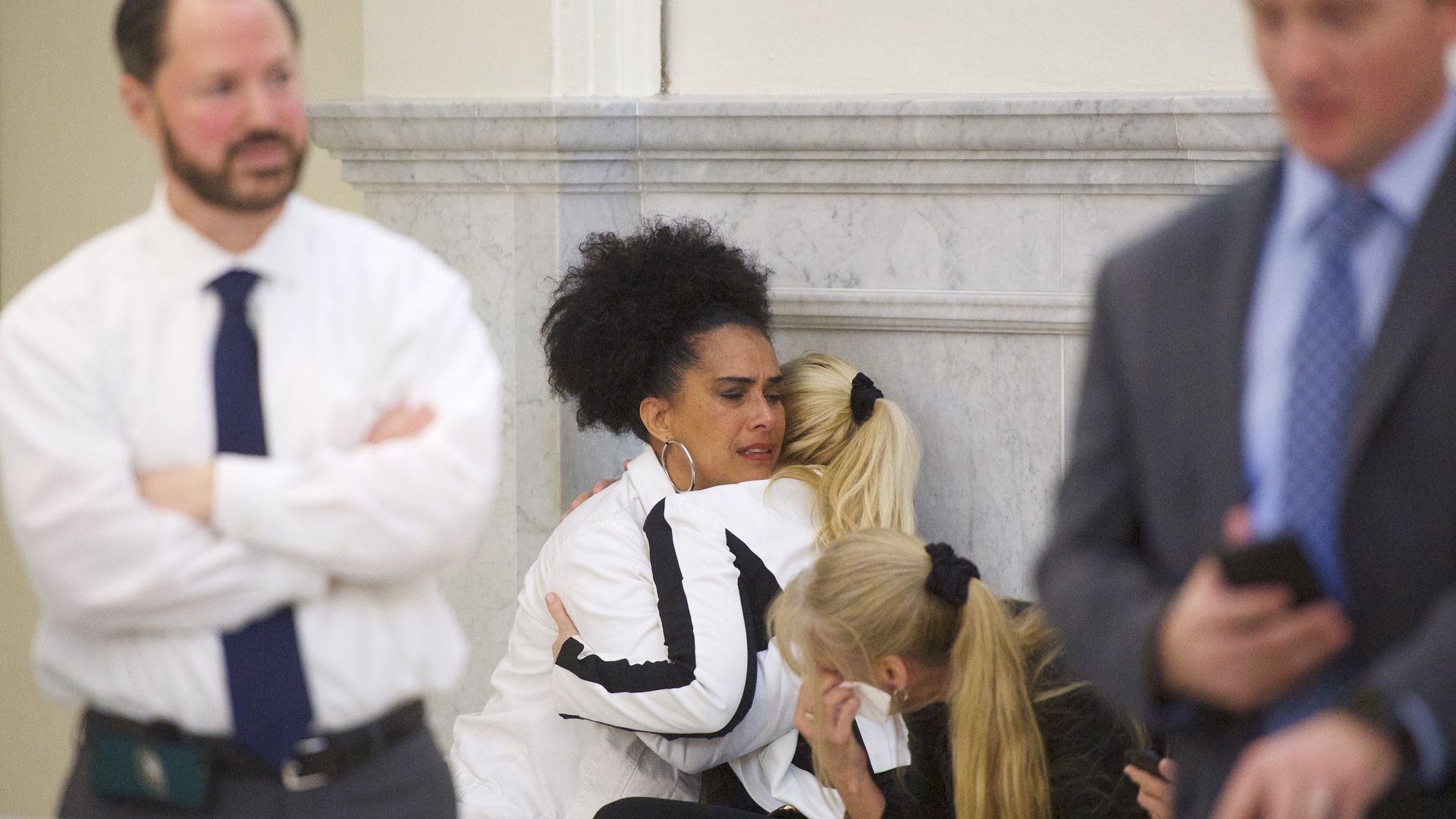 Bill Cosby accusers Lili Bernard and Caroline Heldman react after the guilty on all counts verdict