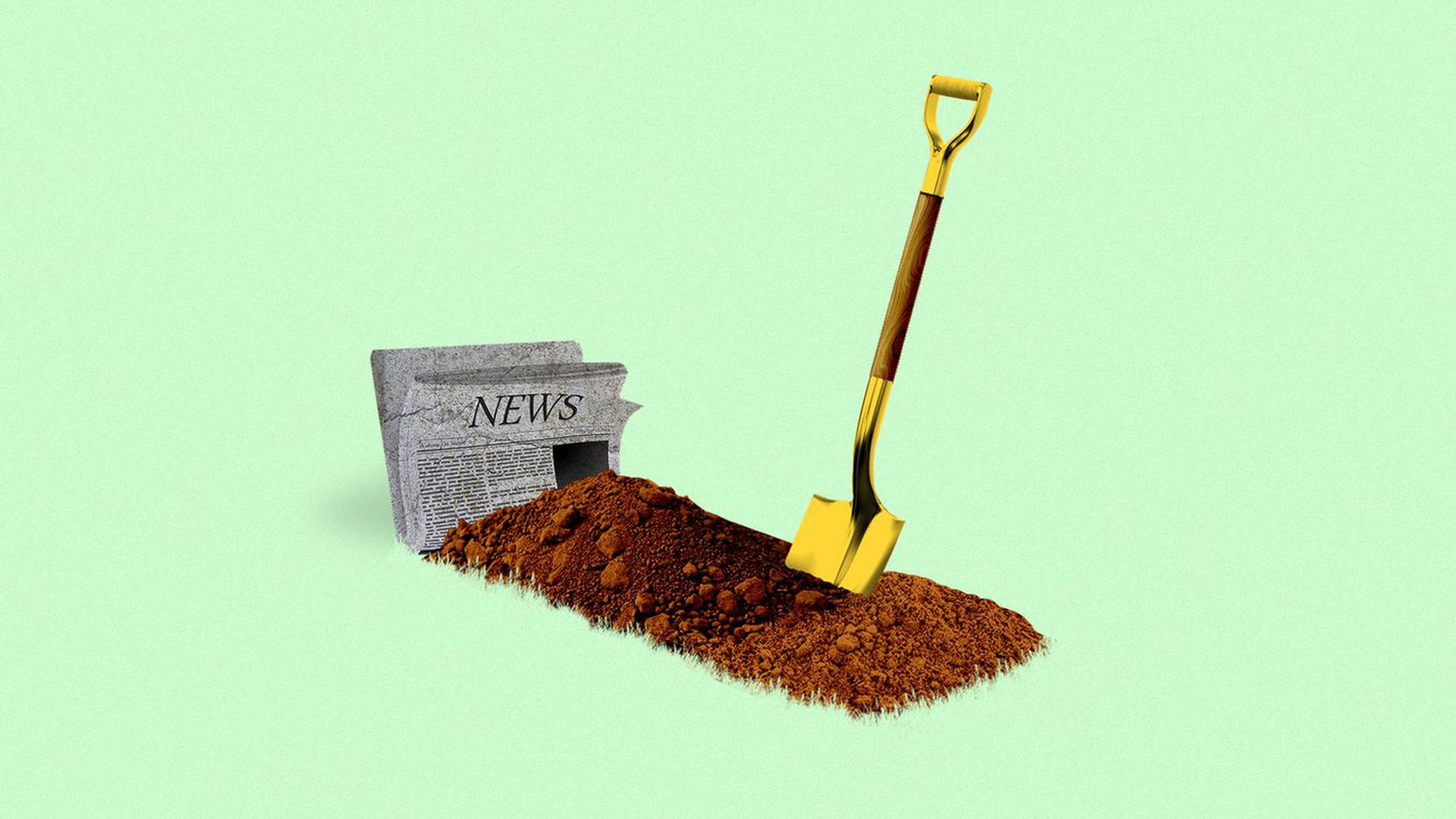 A grave for a newspaper.