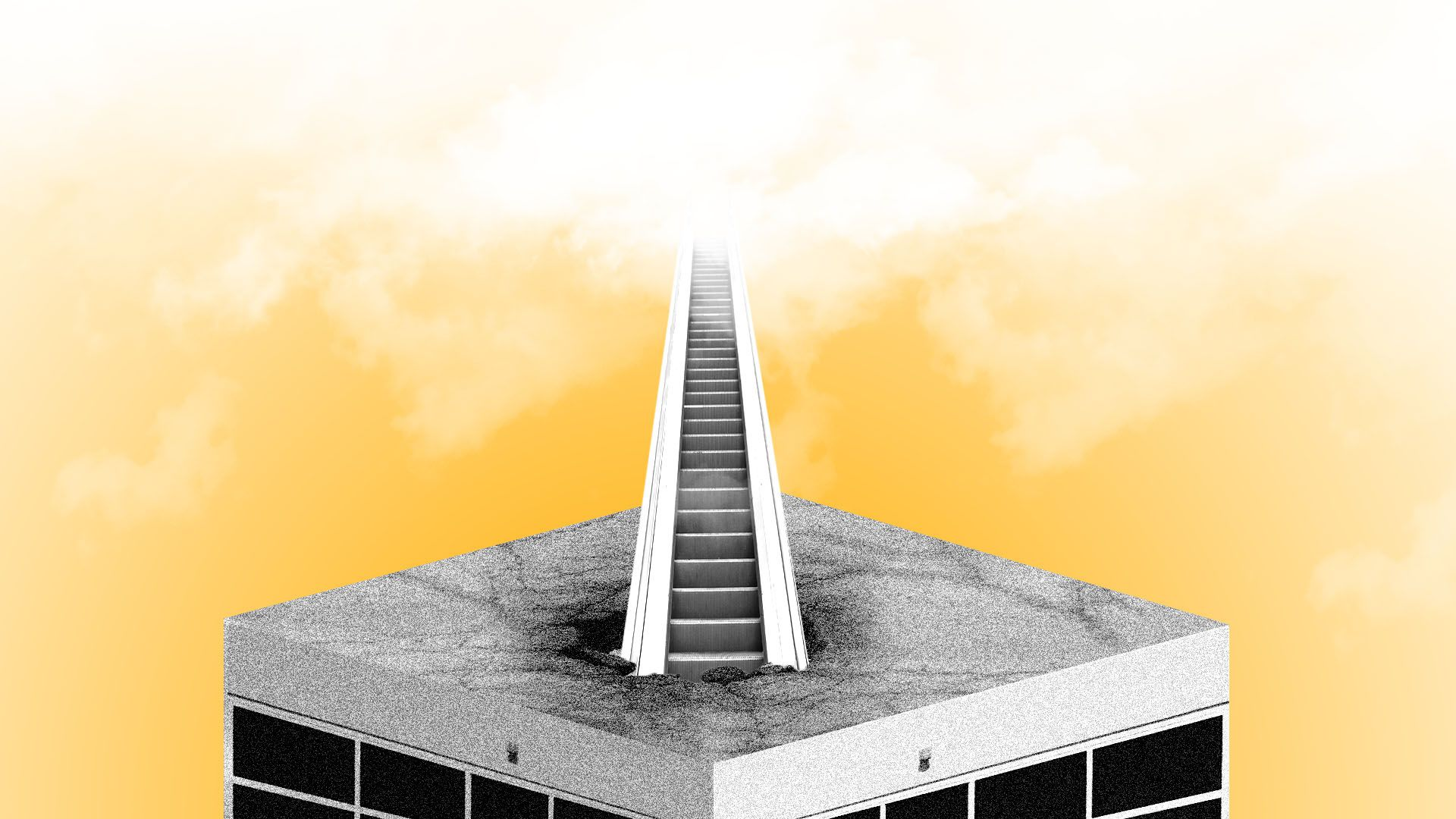 Illustration of an escalator crashing through the rough of a mall and extending into the clouds