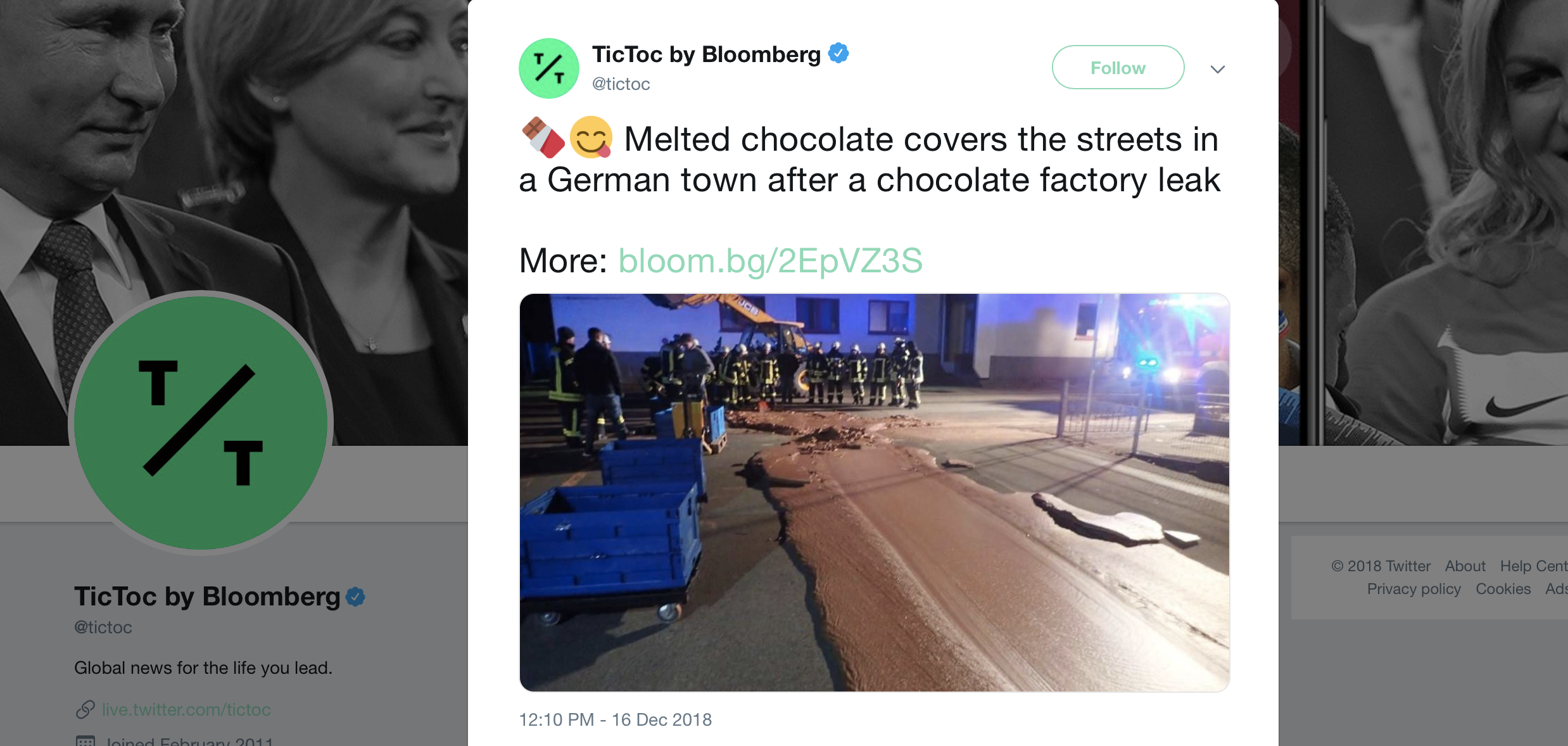 A tweet about chocolate leaking from a factory and pouring through the streets of a German town