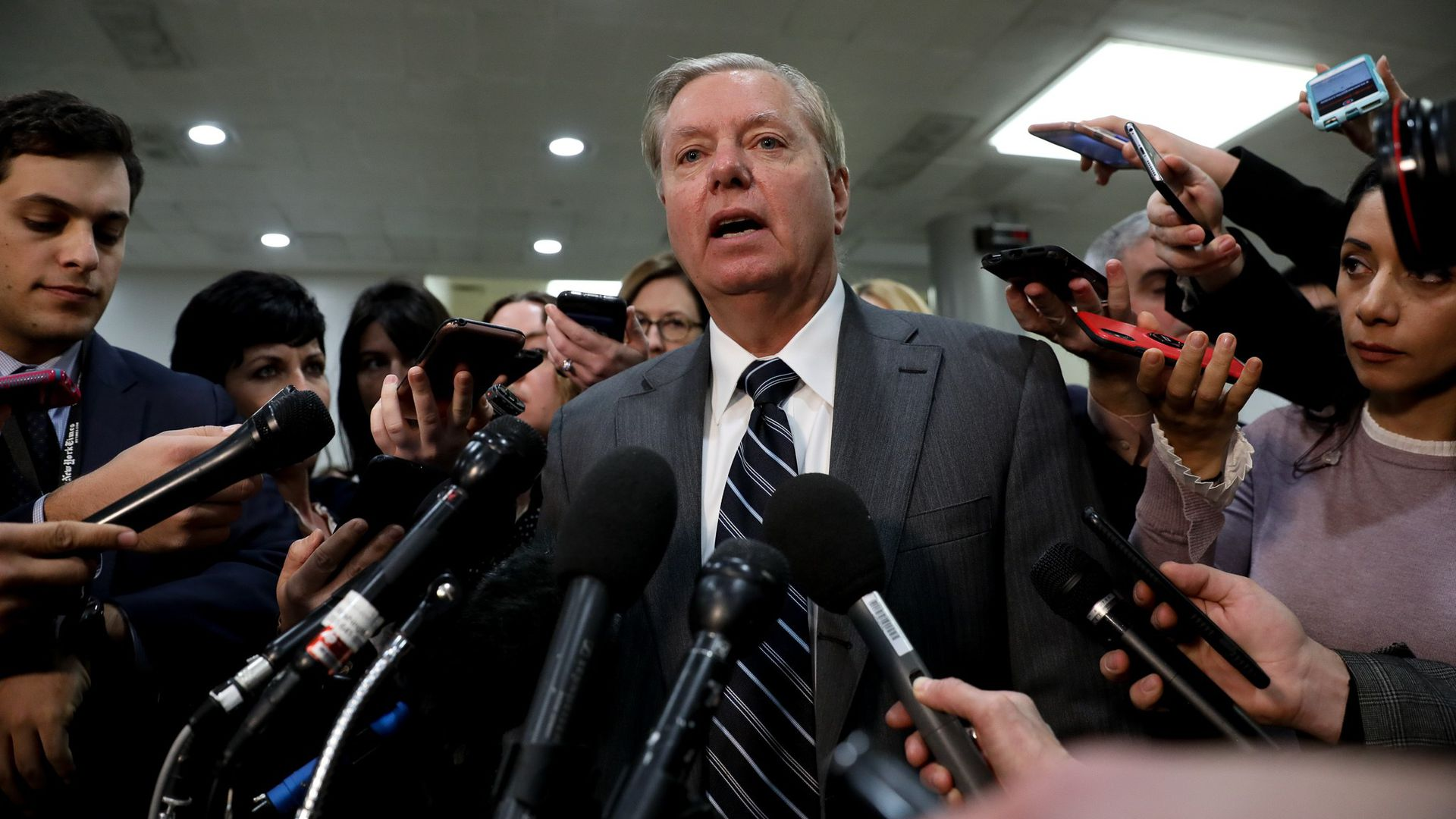 Senator Lindsey Graham speaks to press after a closed door briefing by Central Intelligence Agency Director Gina Haspel