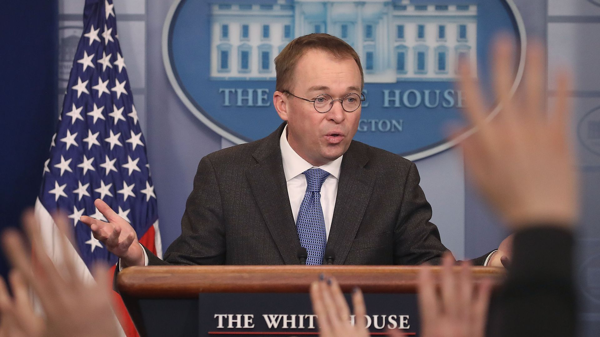 Mick Mulvaney at the White House podium