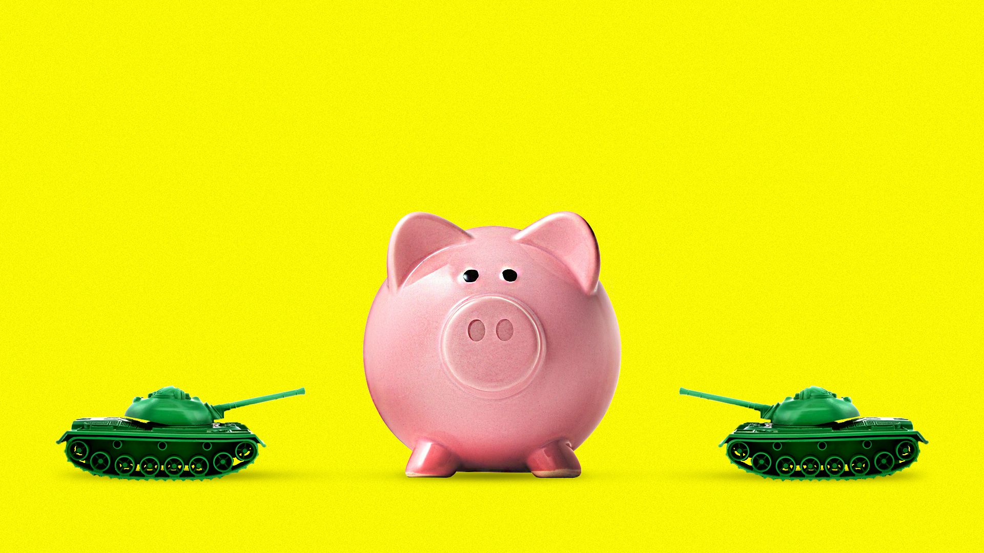 Two battle tanks taking aim at a piggy bank.