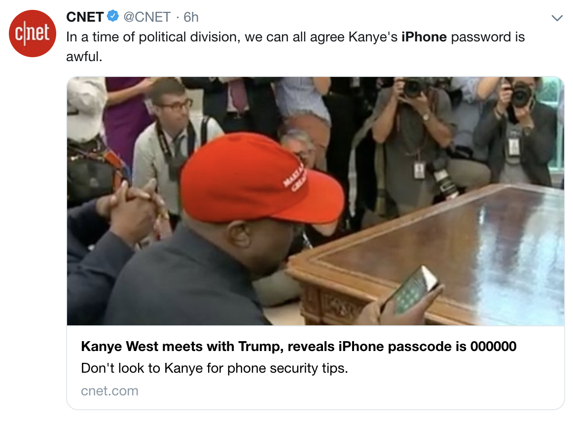 Kanye West entering his very weak iPhone passcode - 000000