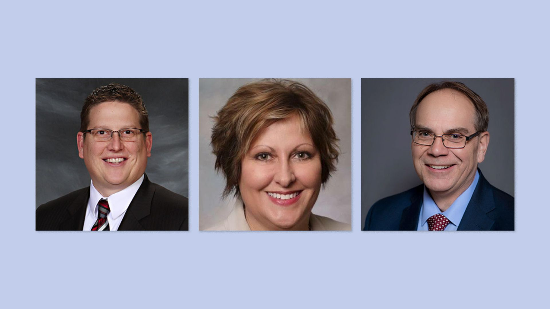 Three headshots of Des Moines city manager Scott Sanders, city clerk Kay Cmelik and city attorney Jeff Lester.