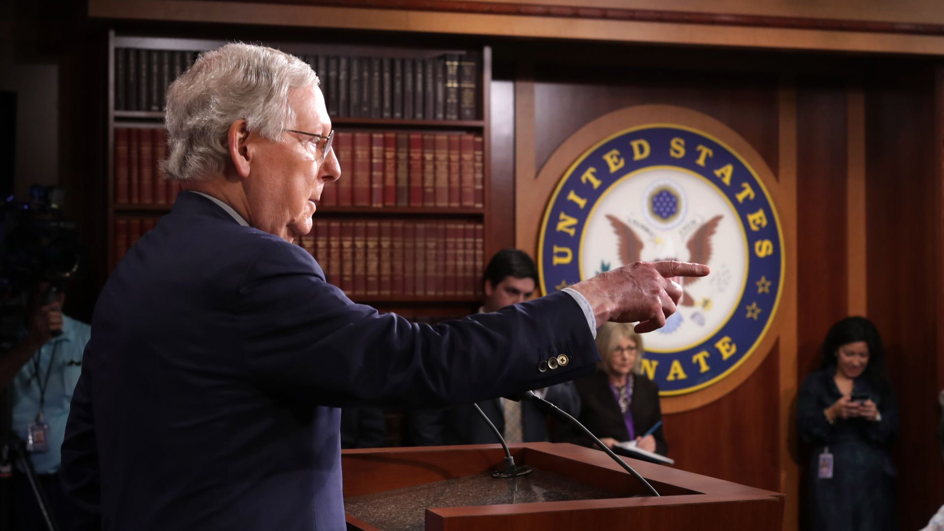 Mitch McConnell pointing.