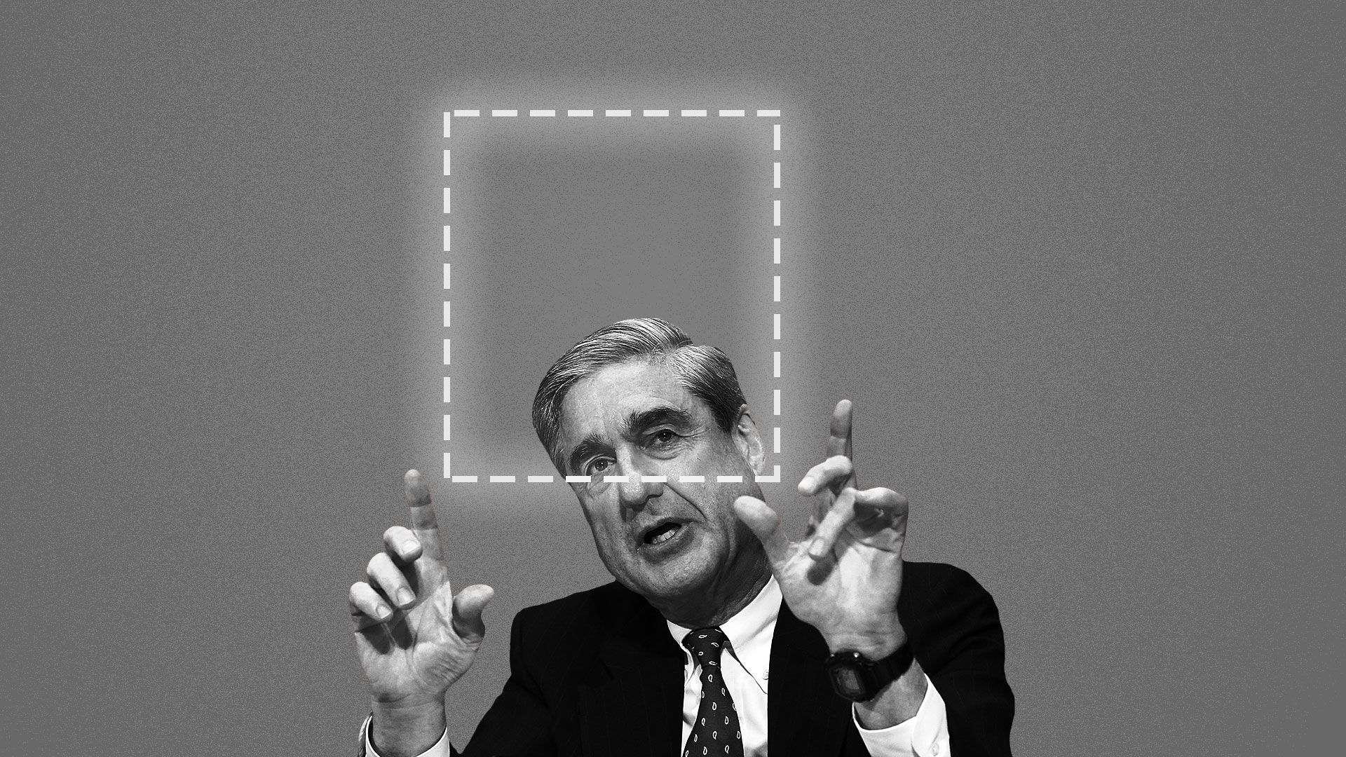Illustration of Robert Mueller holding up his hands and framing an outlined rectangle.