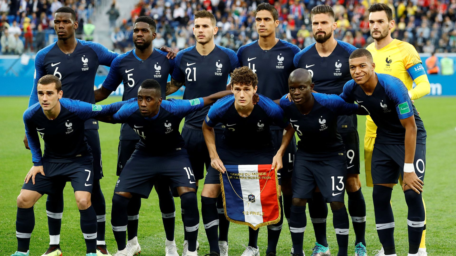 Players of France's soccer team.