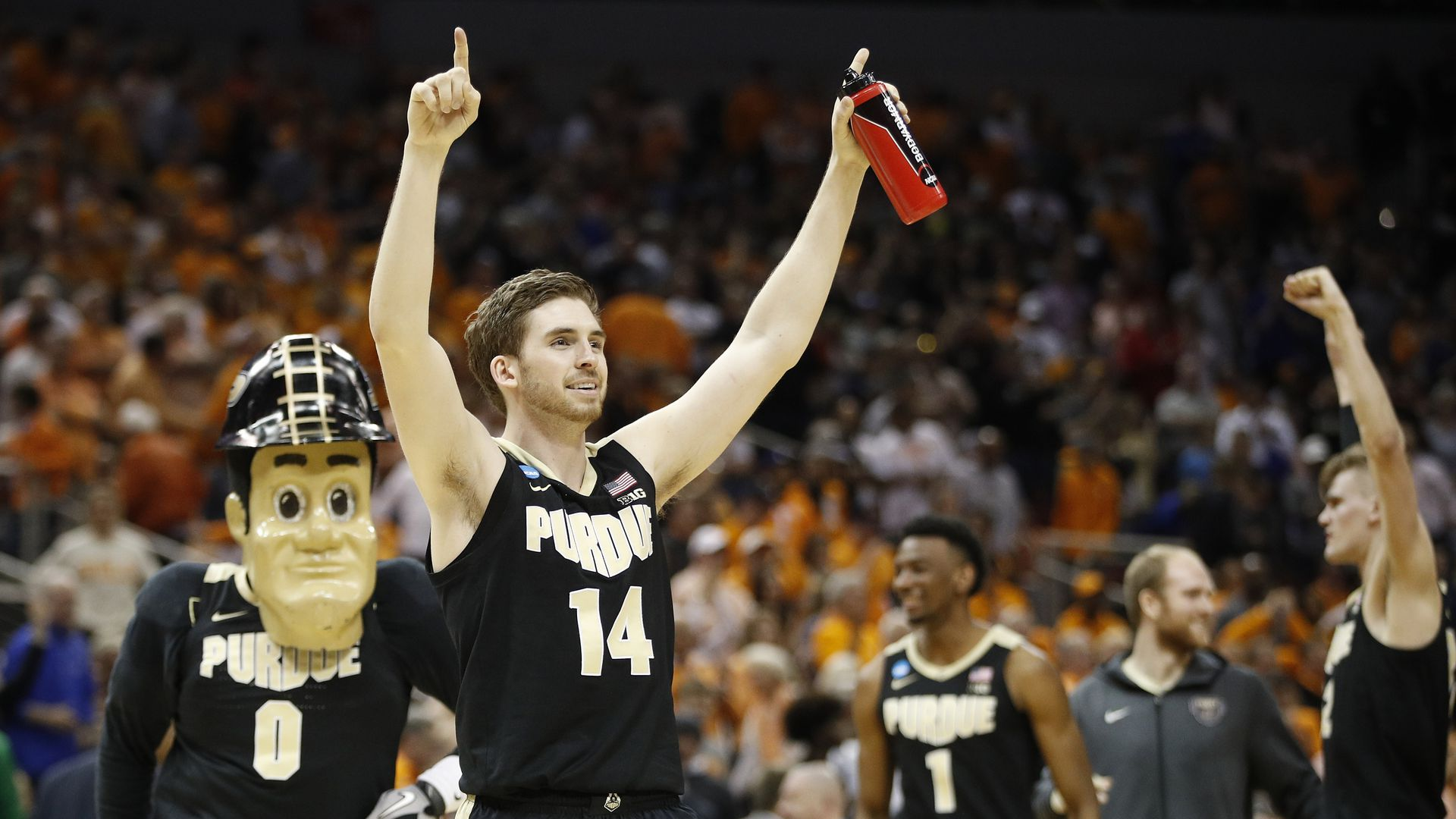 Purdue's Ryan Cline celebrates the win