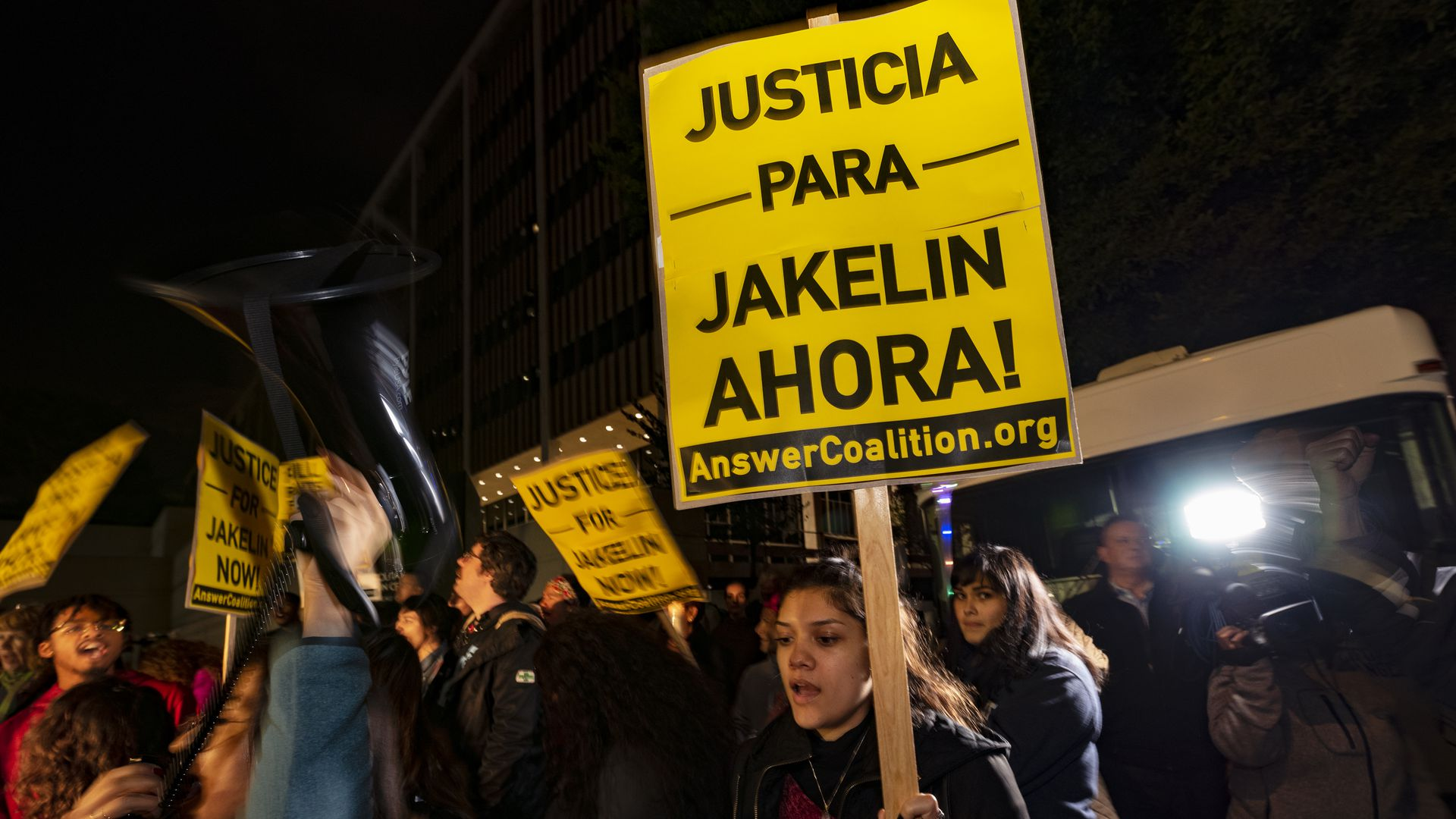 Protestor carrying Justice for Jakelin sign