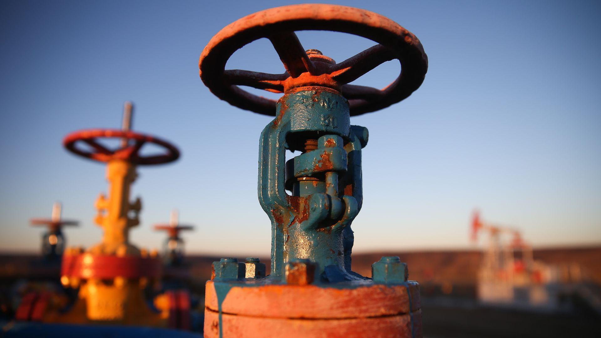 Big orange and blue valve