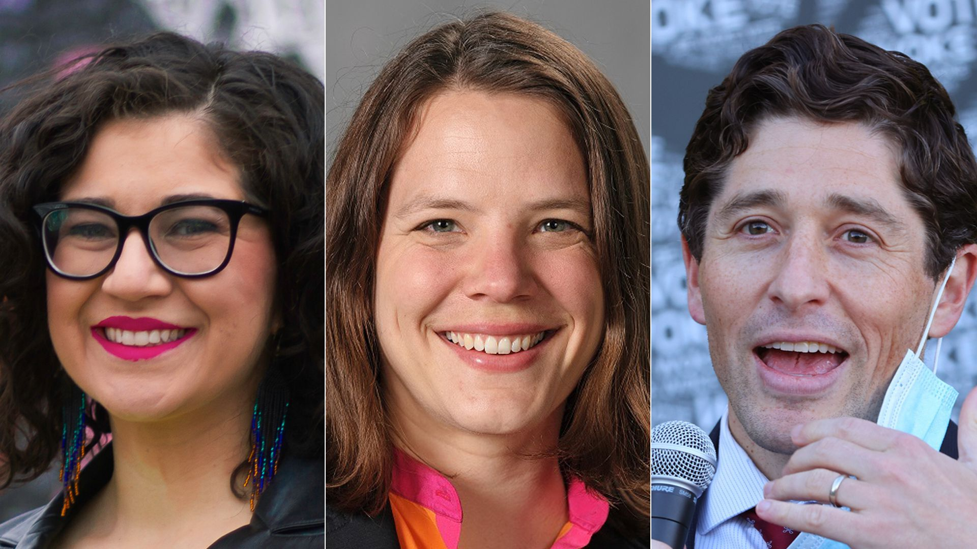 Sheila Nezhad (left) and Kate Knuth (center) are challenging Minneapolis Mayor Jacob Frey (right).