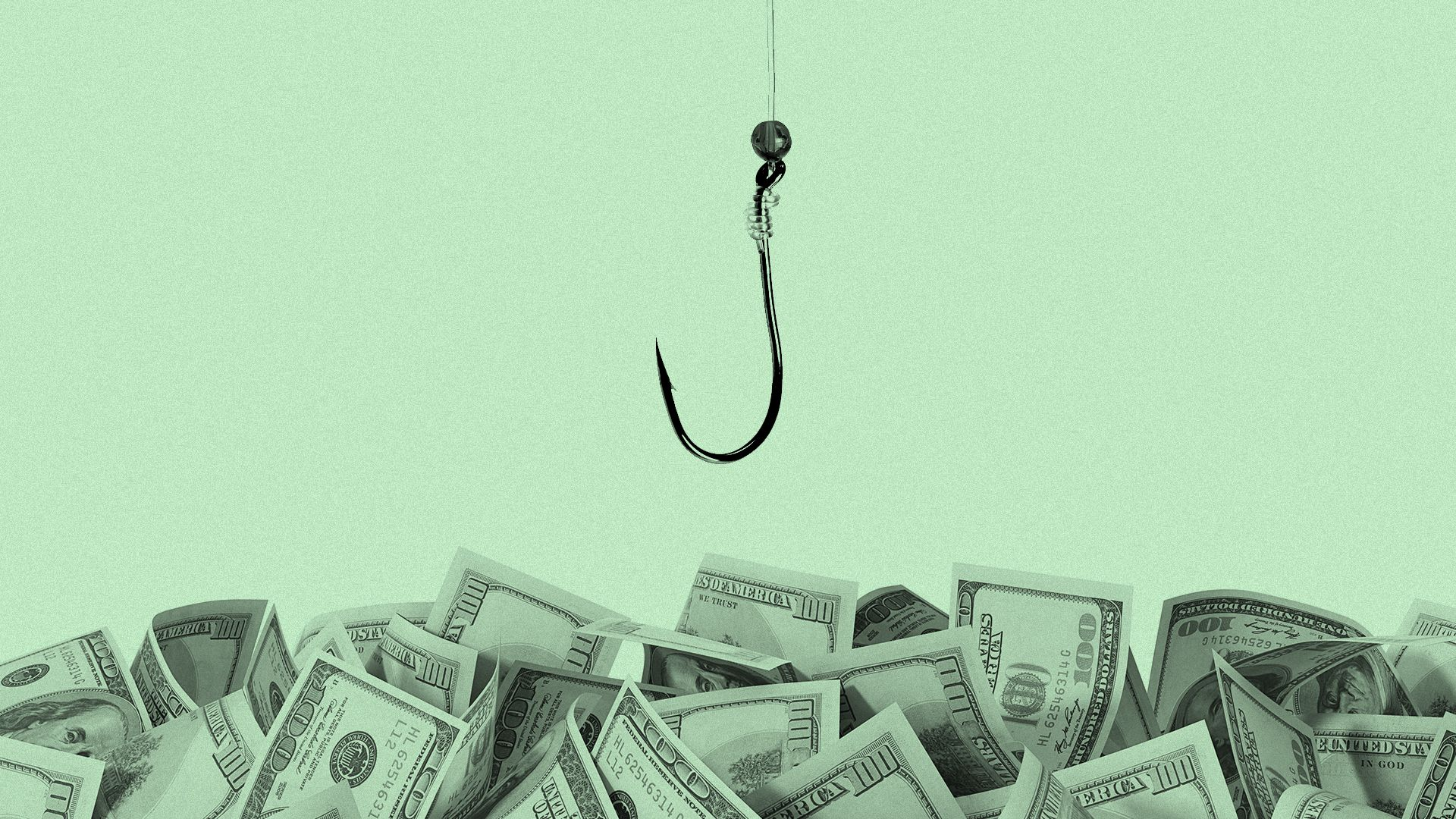 A fishing hook sinking into an ocean of hundred dollar bills