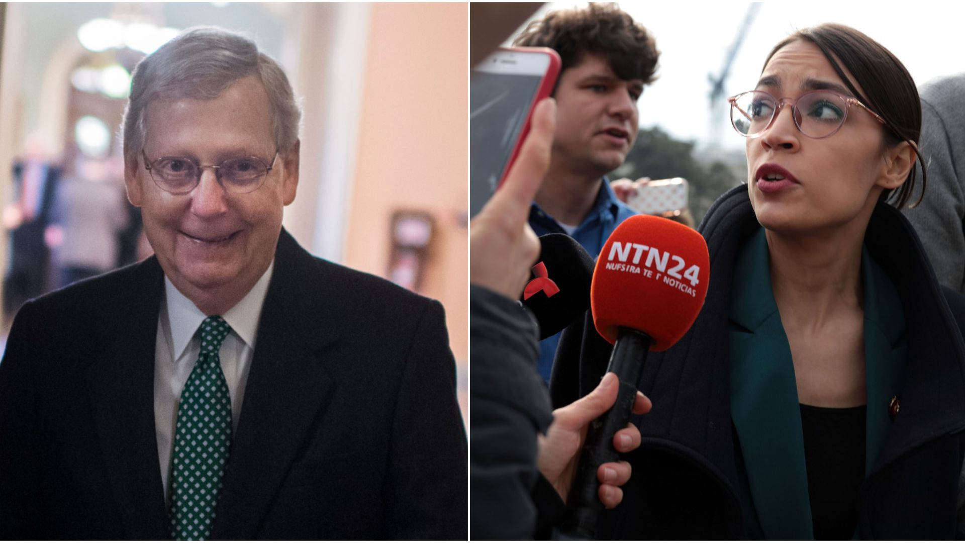 A smiling Mitch McConnell and Alexandria Ocasio-Cortez talking into a microphone