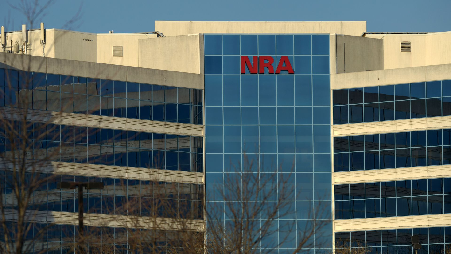 The headquarters of the NRA, with the letters NRA written on top of the building.