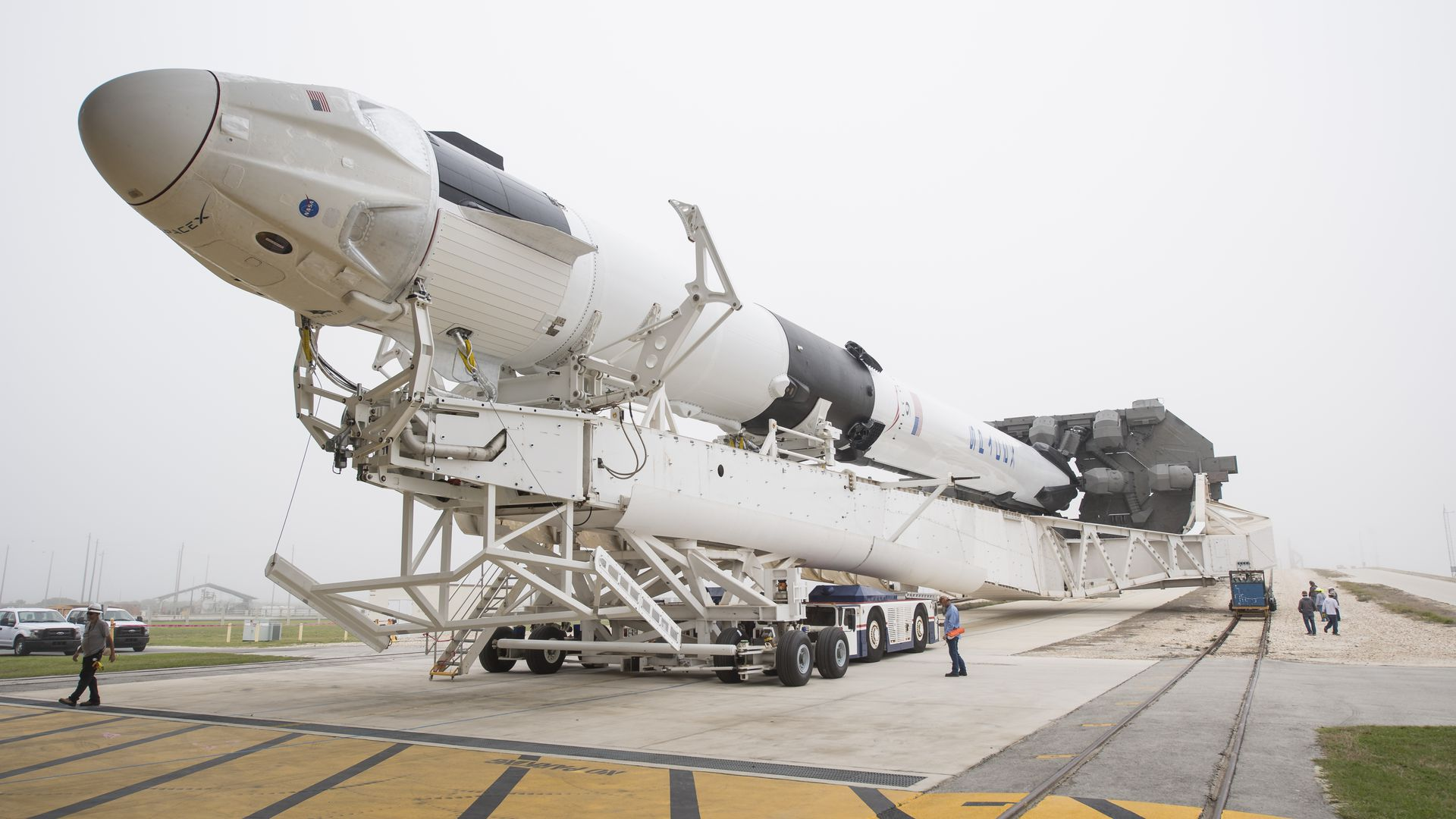 A SpaceX rocket and spacecraft