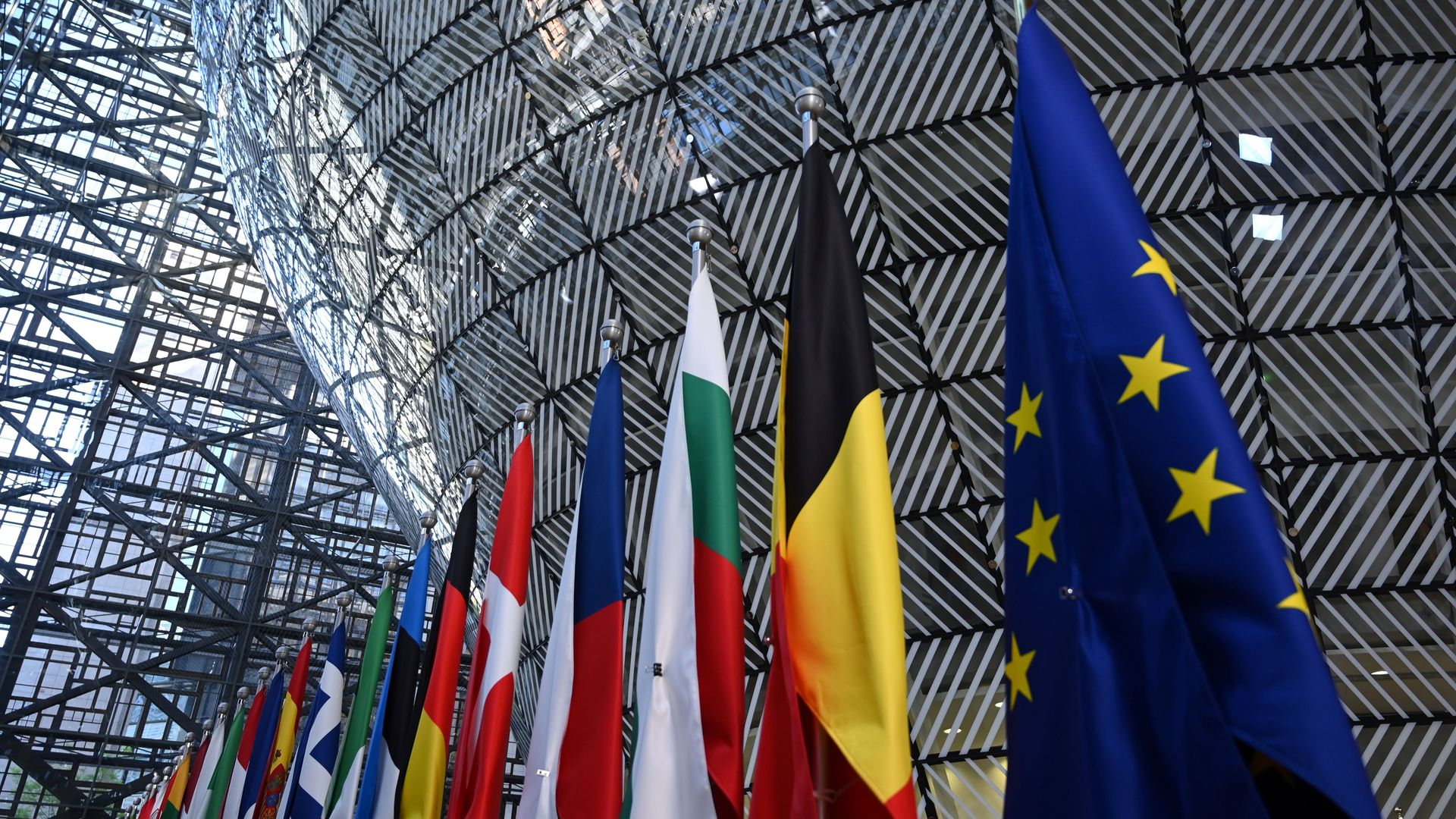 European Council building with European flags displayed