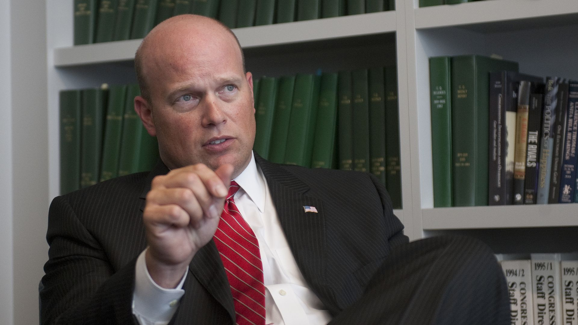 Acting Attorney General Matt Whitaker speaks to reporters.