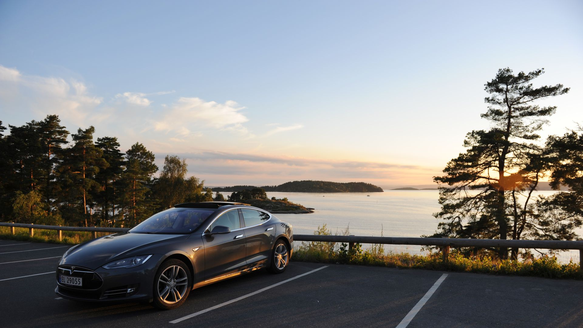A Tesla electric car is parked at the coast of Son, South of Oslo, Norway, 03 August 2015.