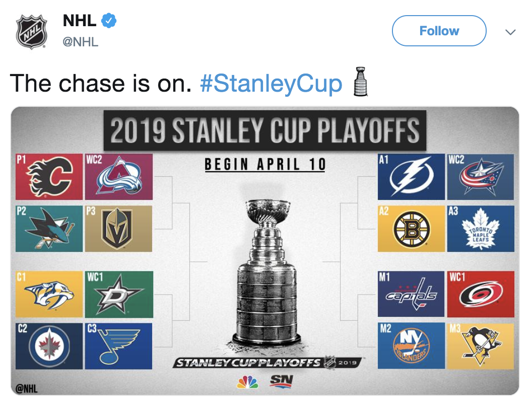 A screenshot of the NHL playoff schedule