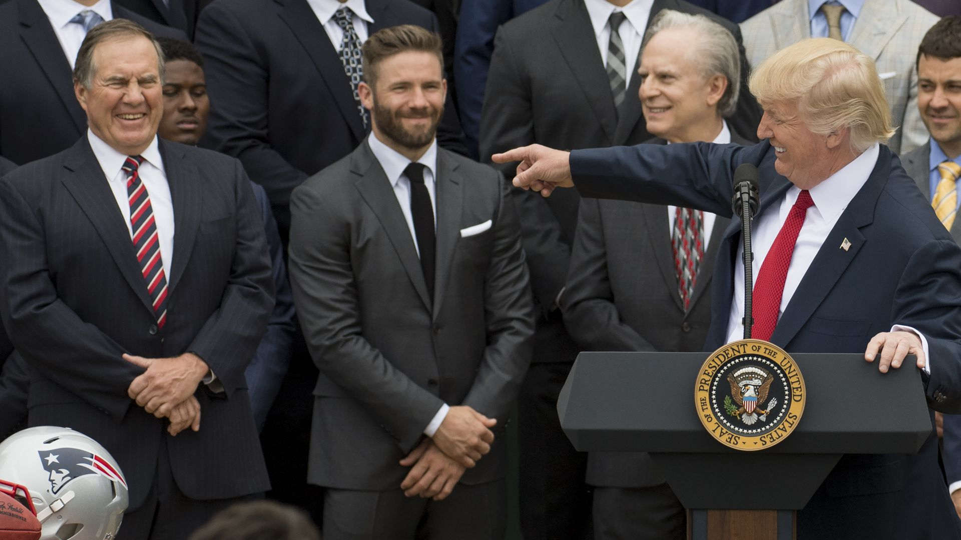 President Donald Trump at speaks alongside New England Patriots head coach Bill Belichick and team members during a White House ceremony the 2017 Super Bowl Champions.