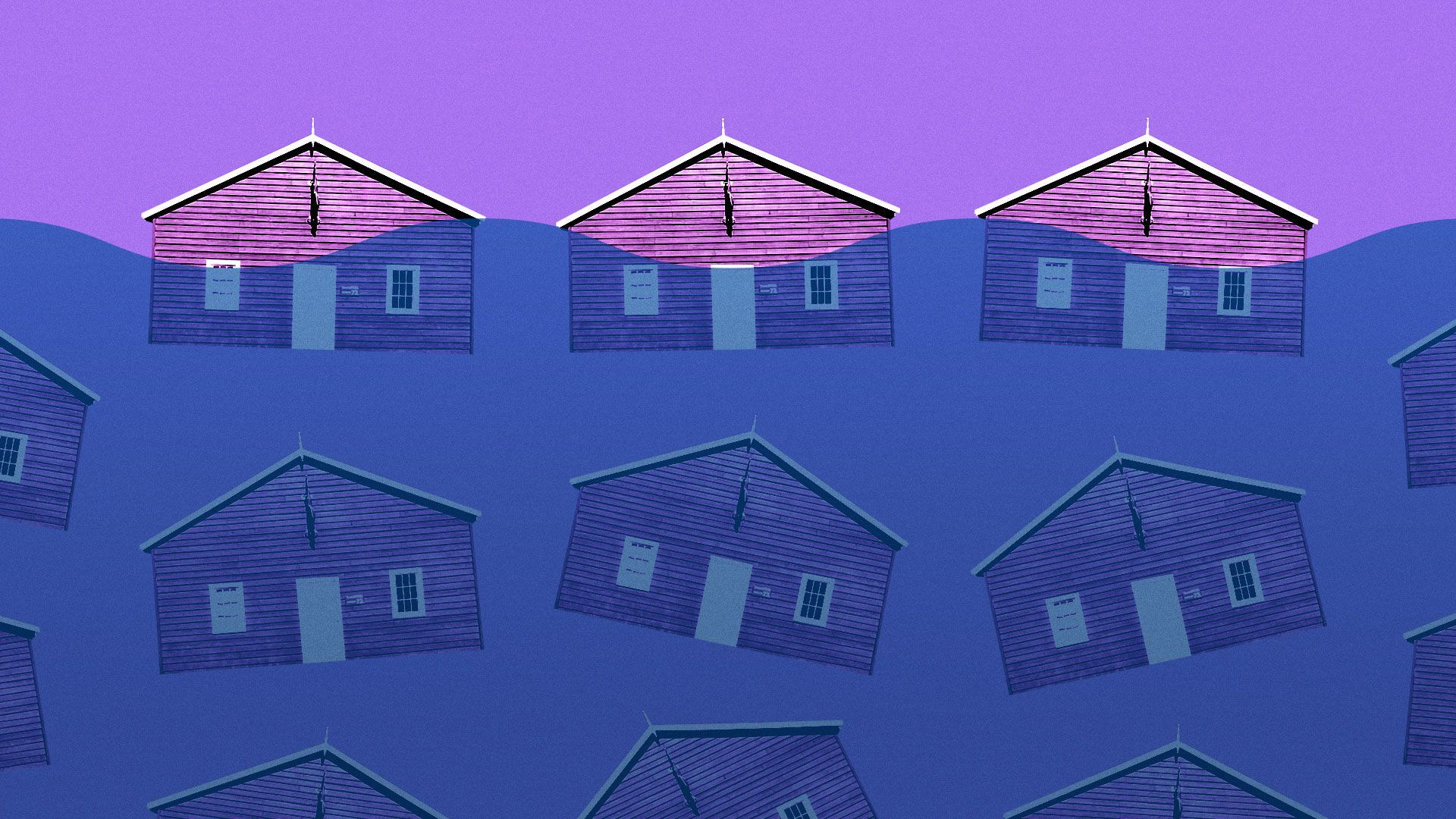 Illustration of pattern of houses partially submerged under water